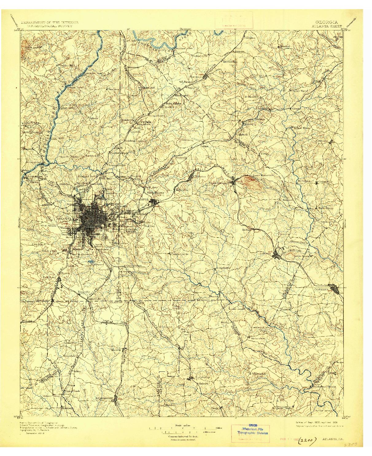 USGS 1:125000-SCALE QUADRANGLE FOR ATLANTA, GA 1895