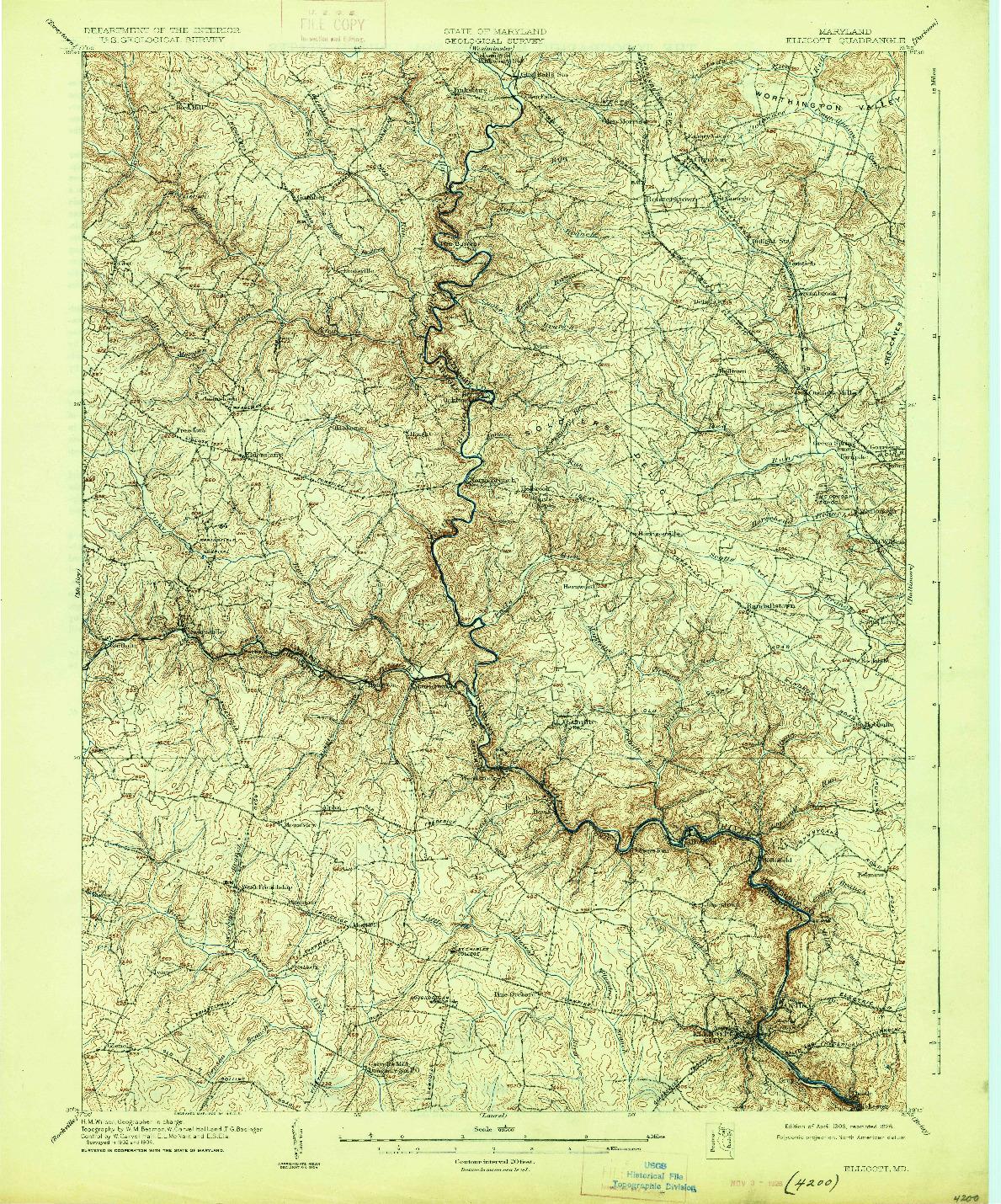 USGS 1:62500-SCALE QUADRANGLE FOR ELLICOTT, MD 1906