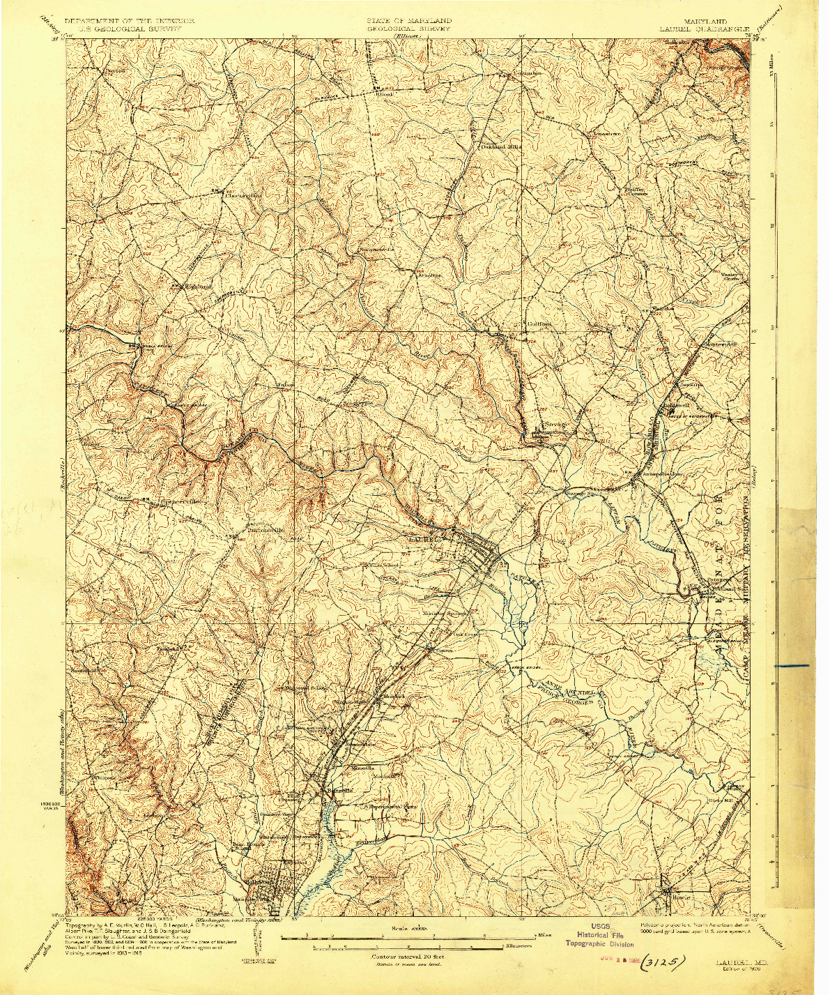 USGS 1:62500-SCALE QUADRANGLE FOR LAUREL, MD 1926