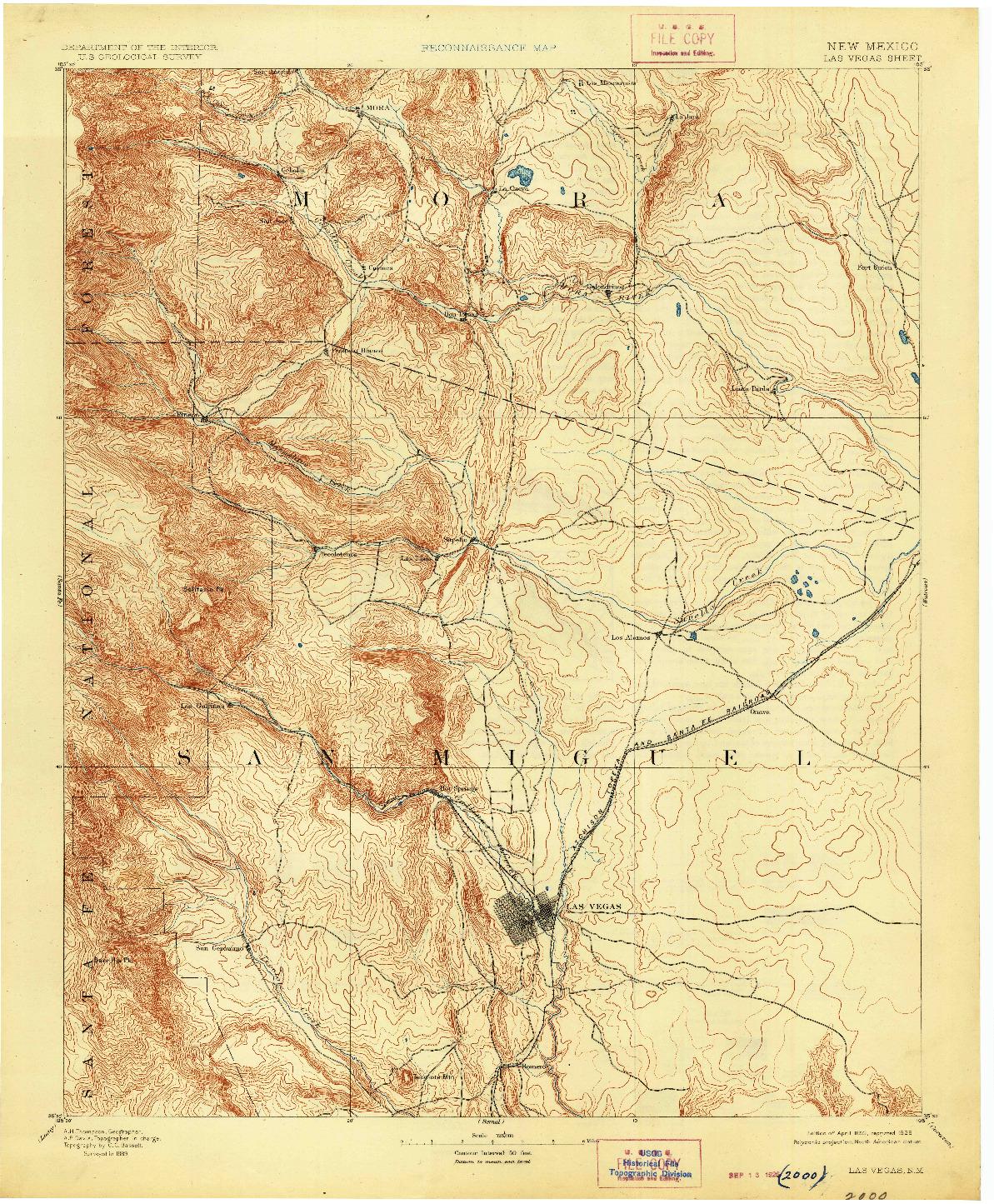USGS 1:125000-SCALE QUADRANGLE FOR LAS VEGAS, NM 1893