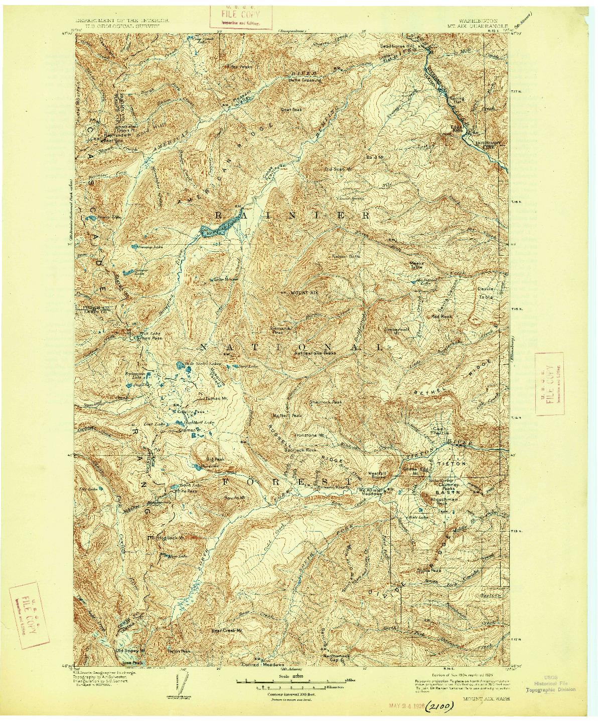 USGS 1:125000-SCALE QUADRANGLE FOR MOUNT AIX, WA 1904