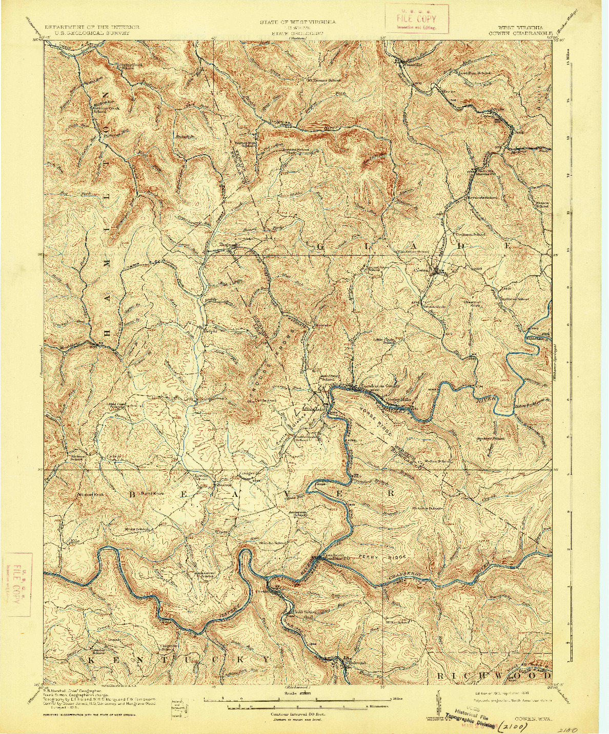 USGS 1:62500-SCALE QUADRANGLE FOR COWEN, WV 1917