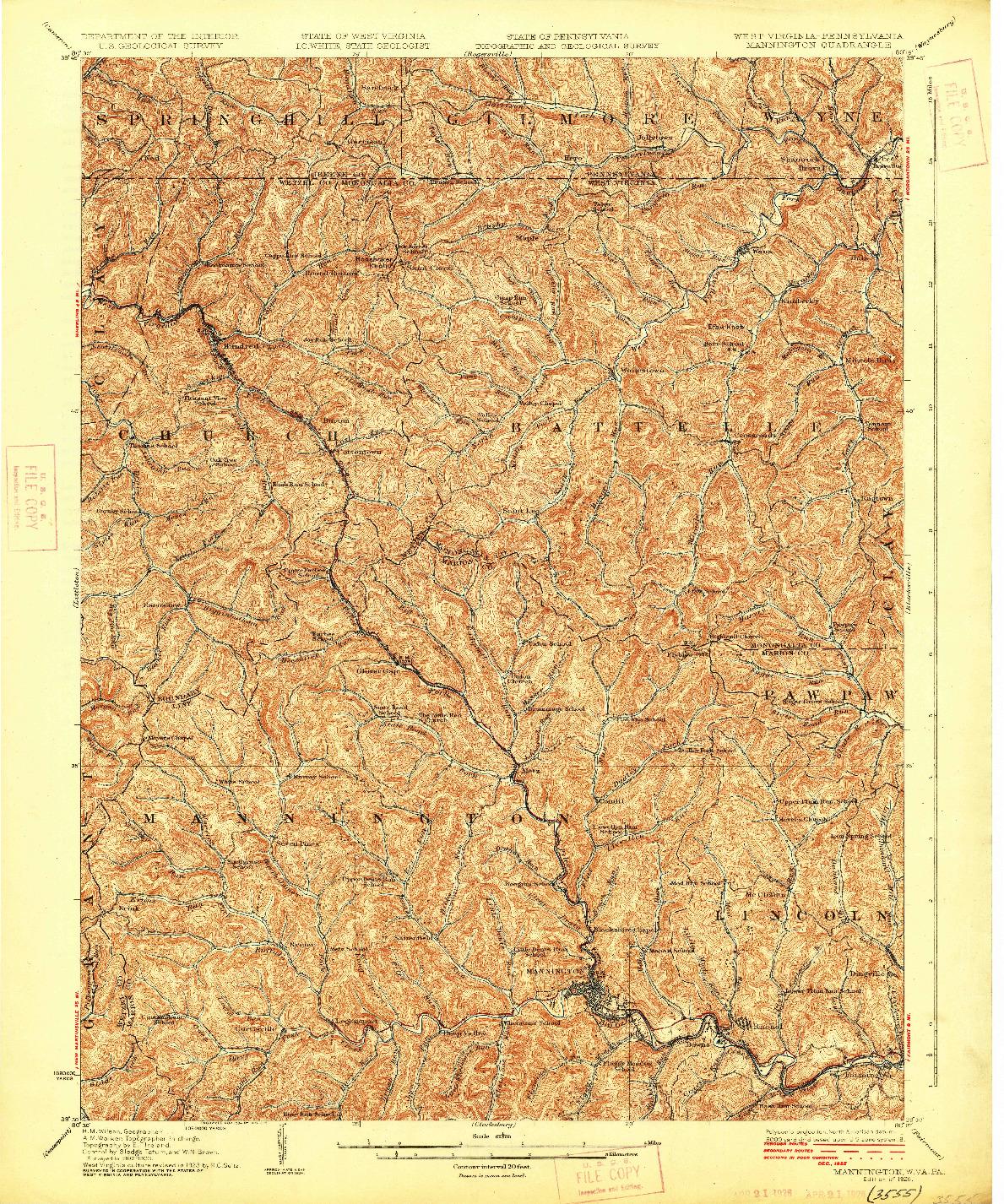 USGS 1:62500-SCALE QUADRANGLE FOR MANNINGTON, WV 1926