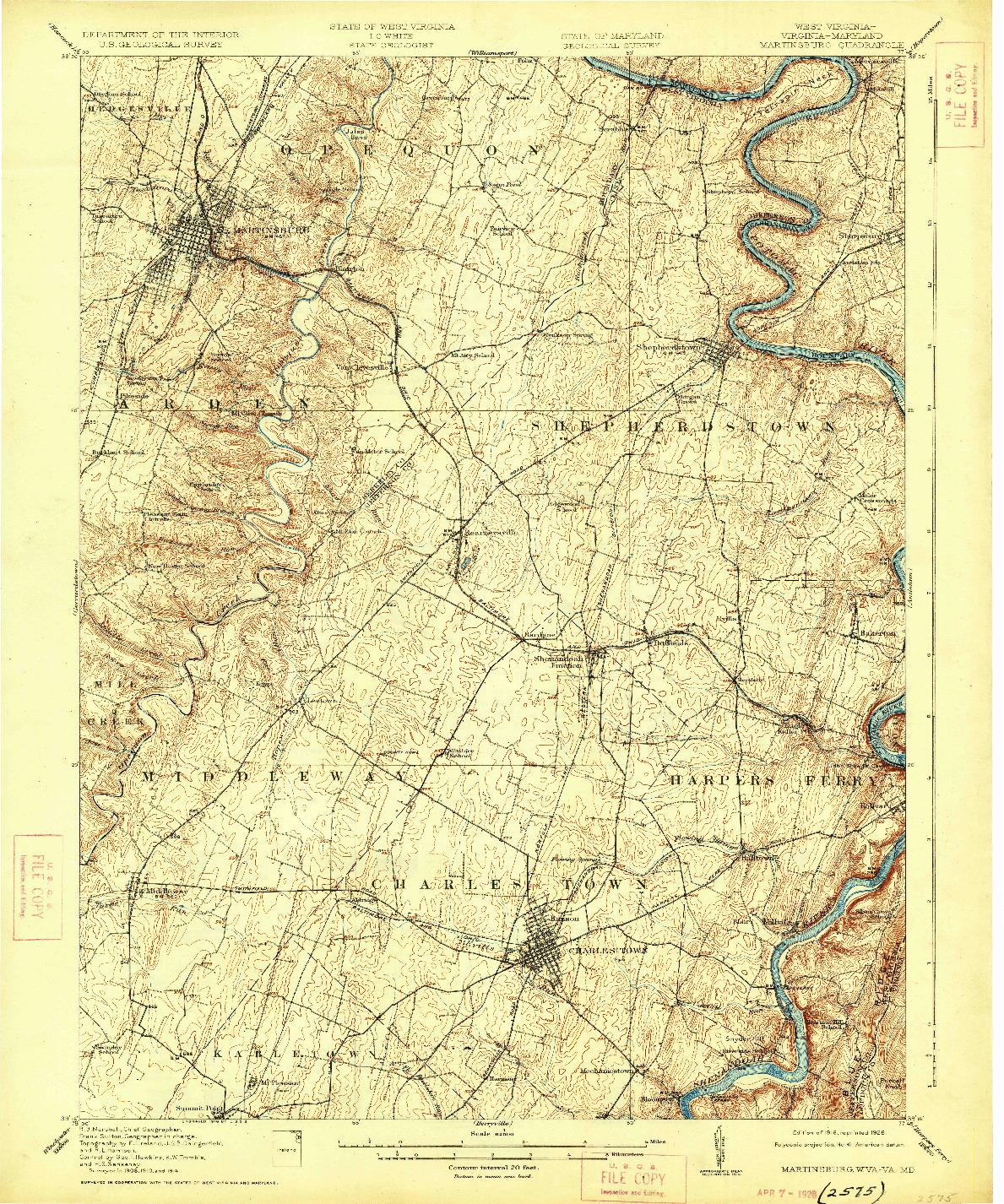 USGS 1:62500-SCALE QUADRANGLE FOR MARTINSBURG, WV 1916