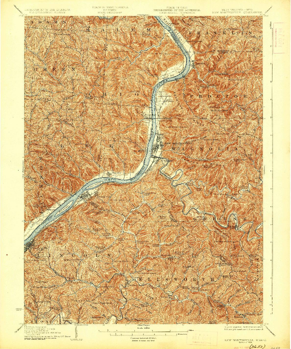 USGS 1:62500-SCALE QUADRANGLE FOR NEW MARTINSVILLE, WV 1926