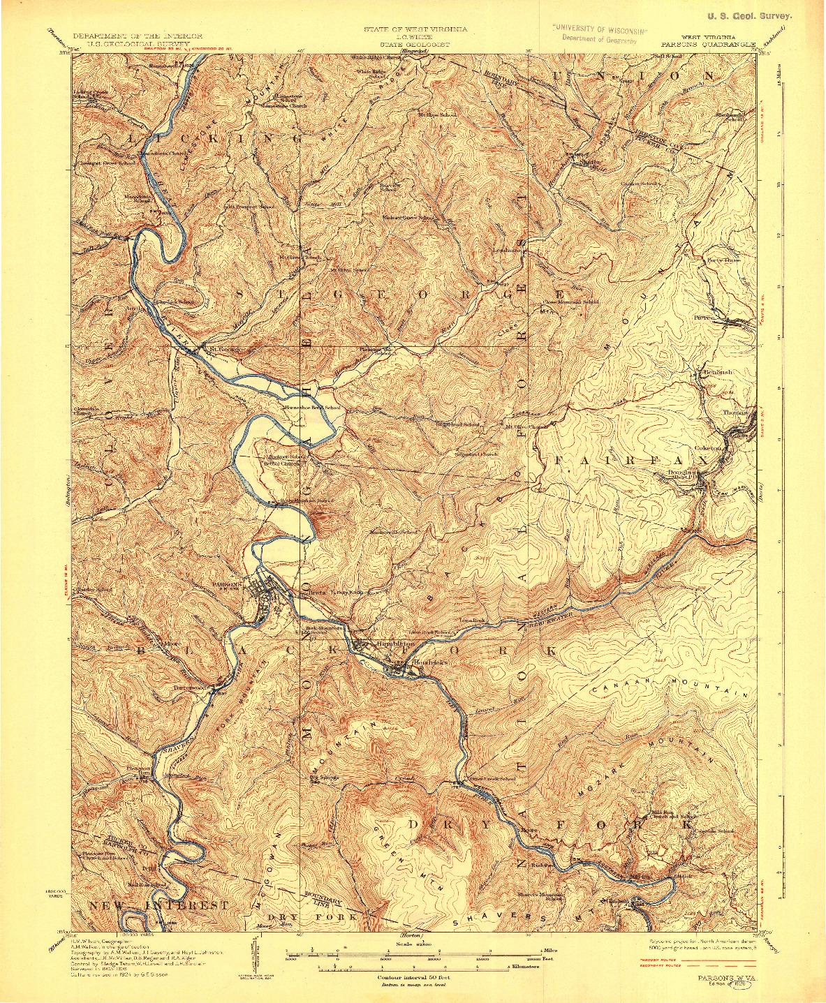 USGS 1:62500-SCALE QUADRANGLE FOR PARSONS, WV 1926