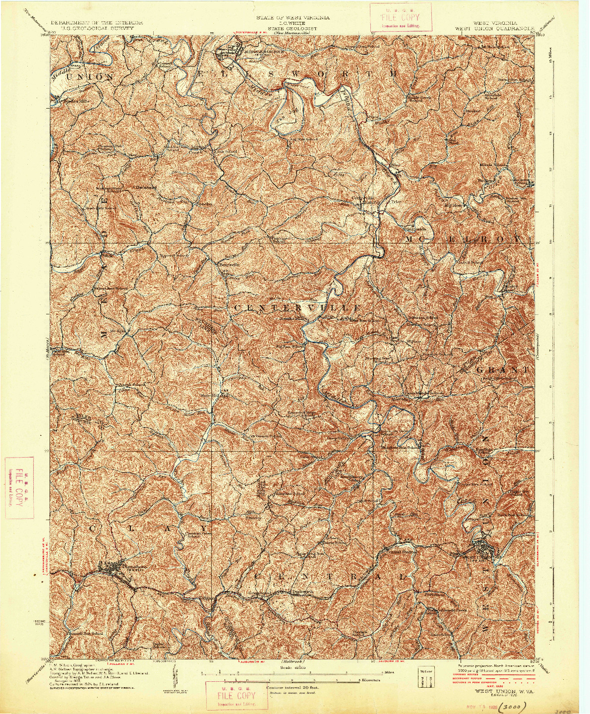 USGS 1:62500-SCALE QUADRANGLE FOR WEST UNION, WV 1926