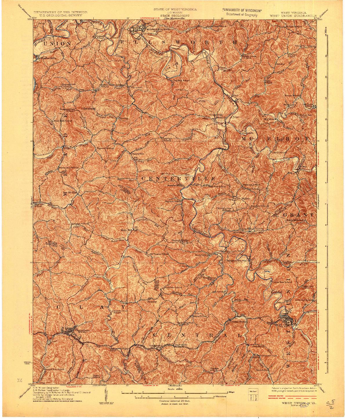 USGS 1:62500-SCALE QUADRANGLE FOR WEST UNION, WV 1926