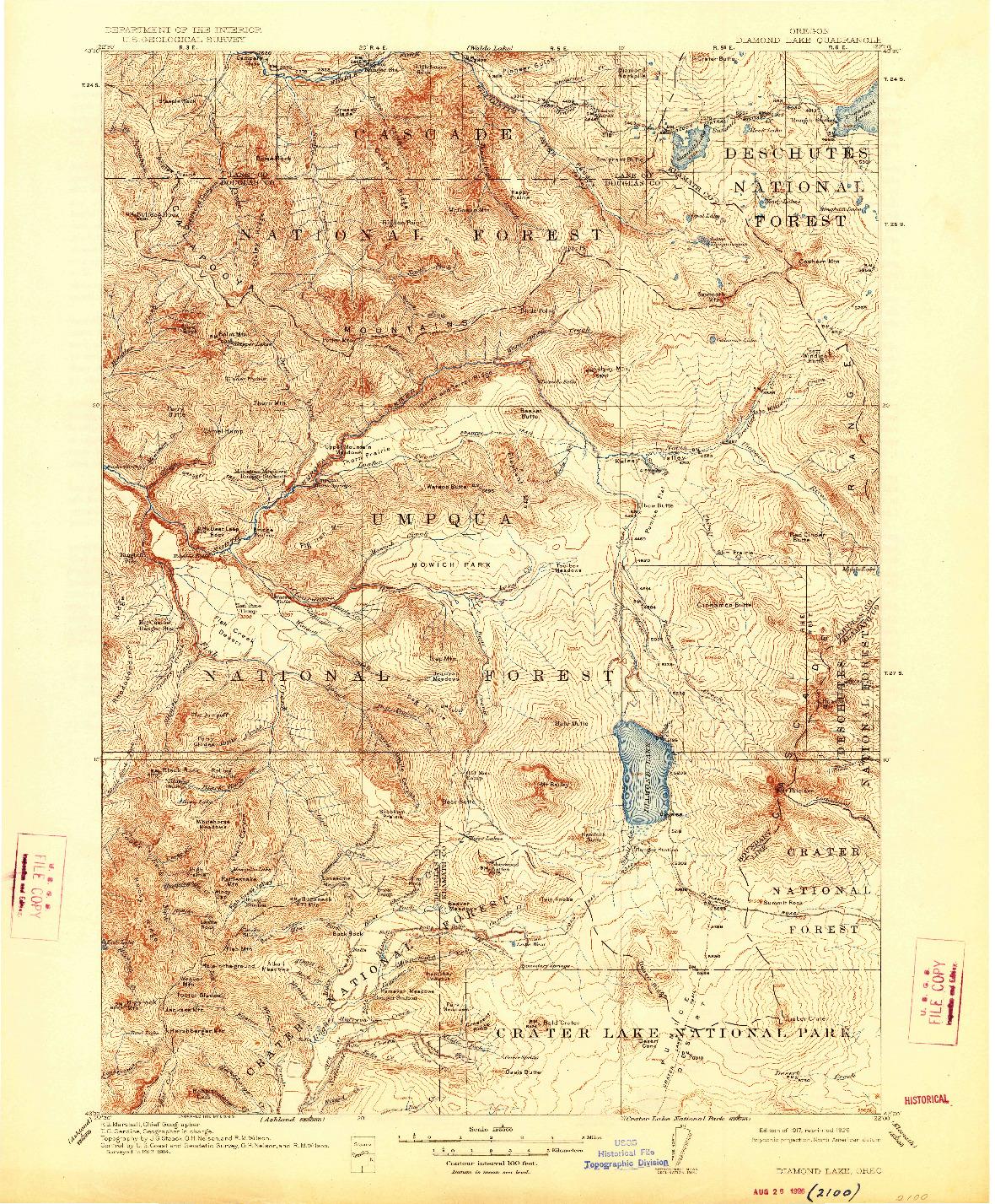 USGS 1:125000-SCALE QUADRANGLE FOR DIAMOND LAKE, OR 1917