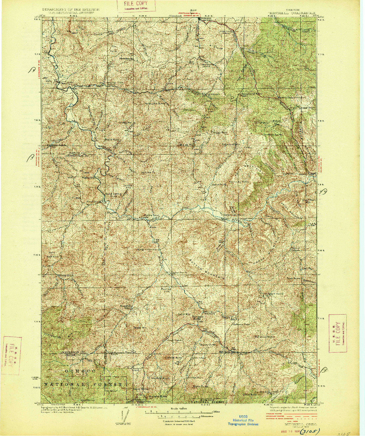 USGS 1:125000-SCALE QUADRANGLE FOR MITCHELL, OR 1926