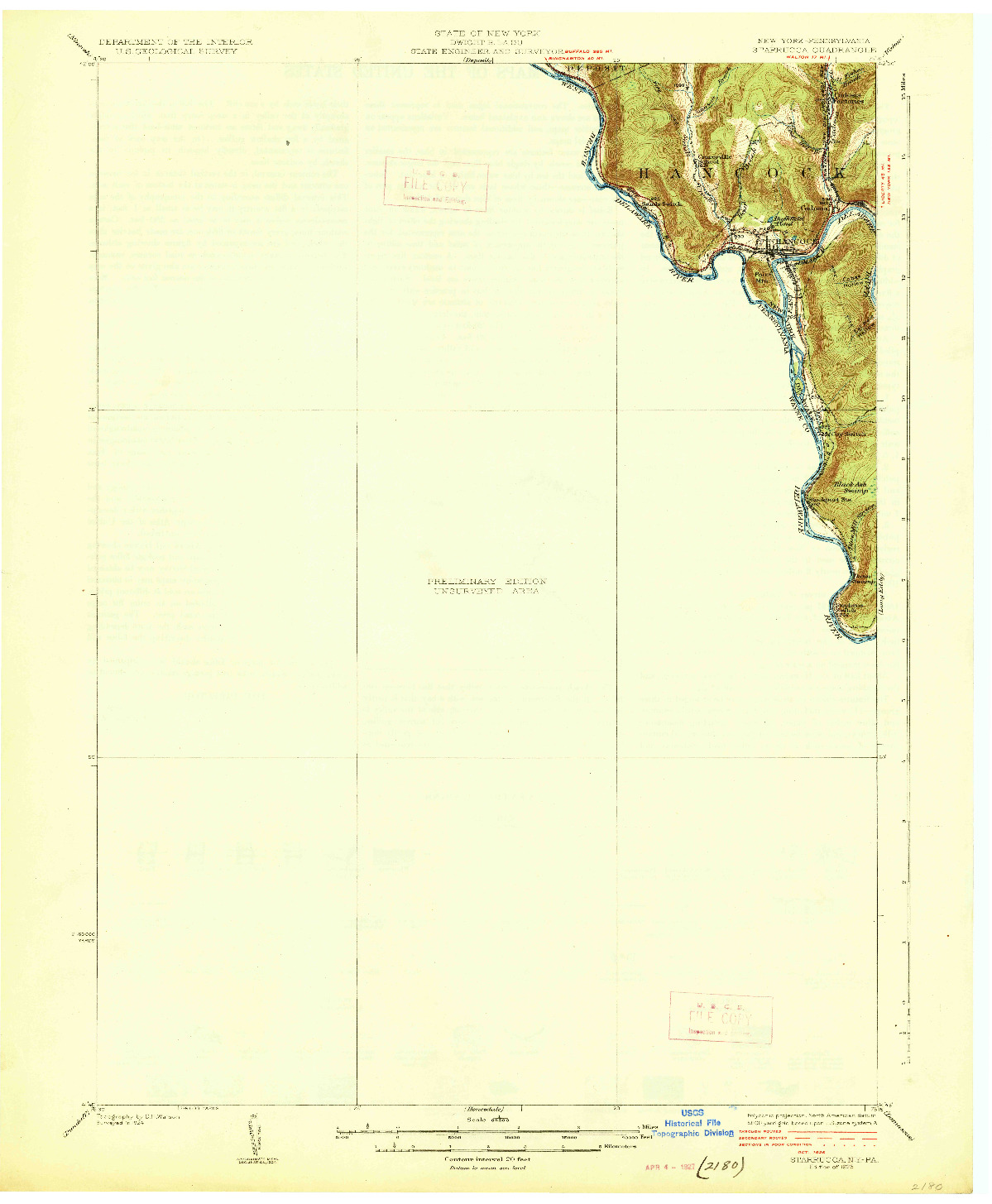 USGS 1:62500-SCALE QUADRANGLE FOR STARRUCCA, NY 1926
