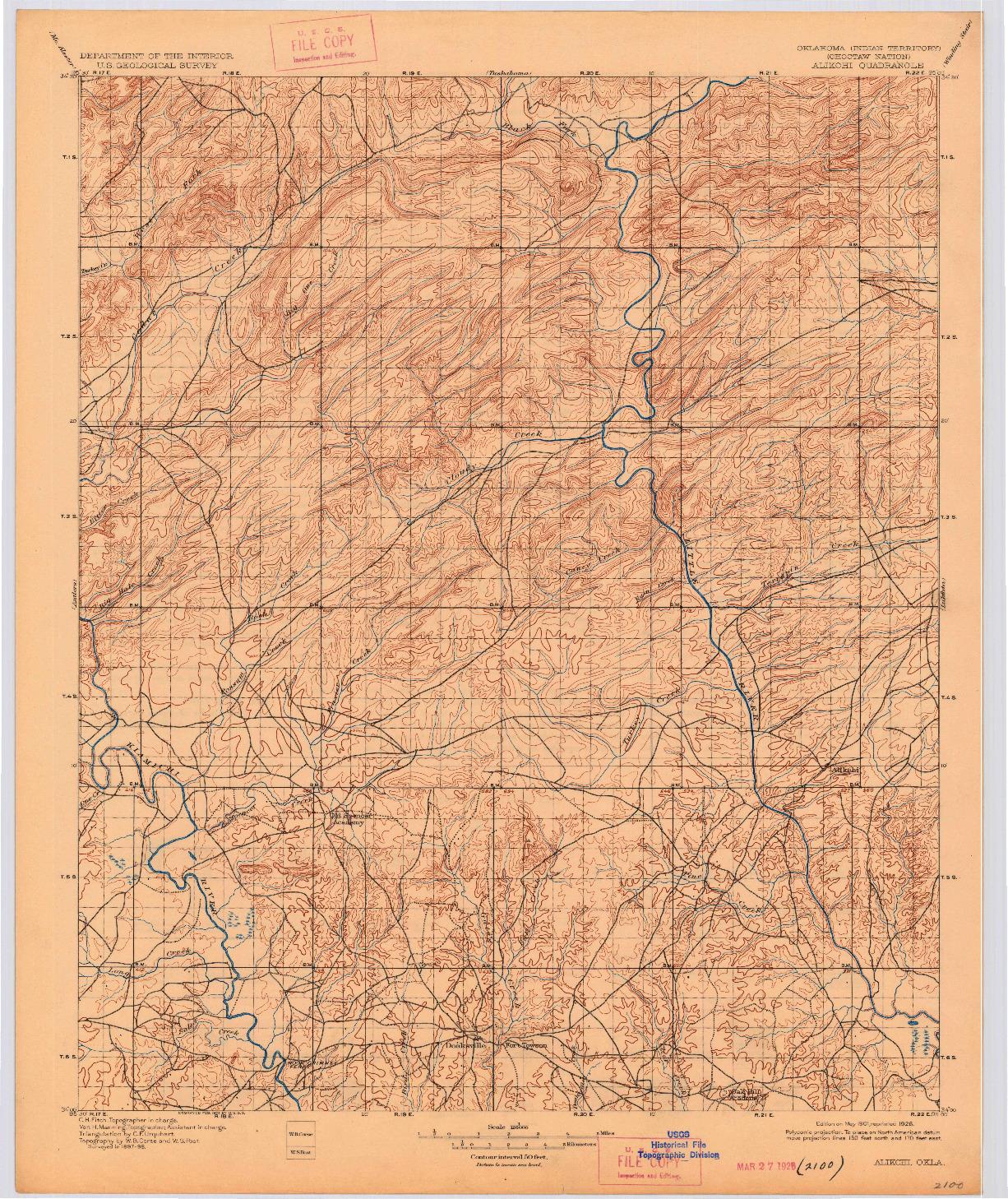 USGS 1:125000-SCALE QUADRANGLE FOR ALIKCHI, OK 1901
