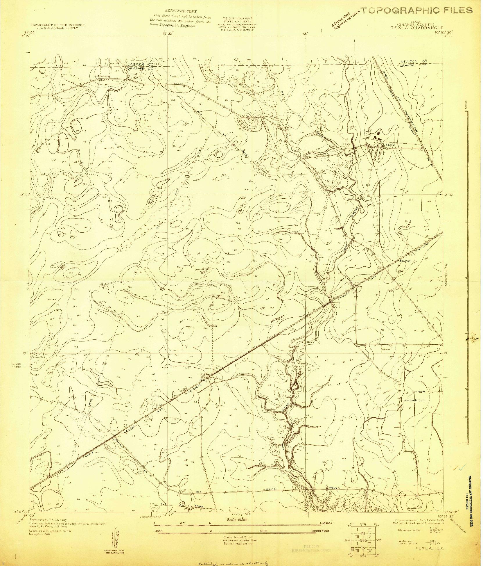 USGS 1:24000-SCALE QUADRANGLE FOR TEXLA, TX 1926