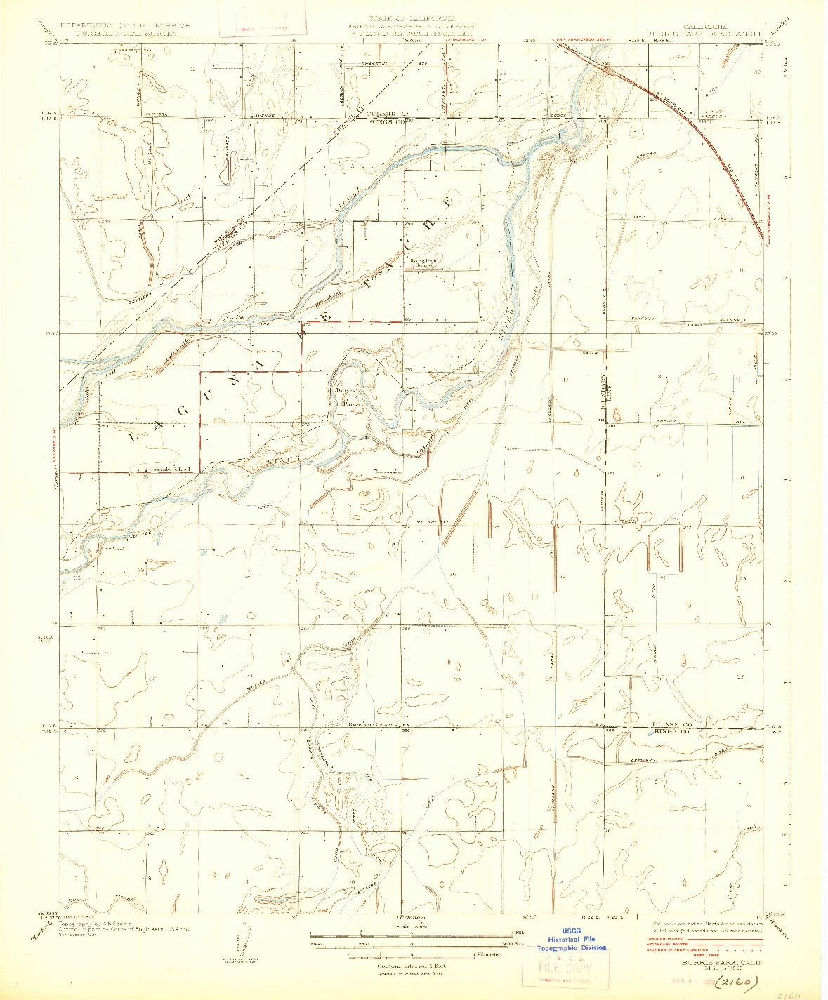 USGS 1:31680-SCALE QUADRANGLE FOR BURRIS PARK, CA 1926