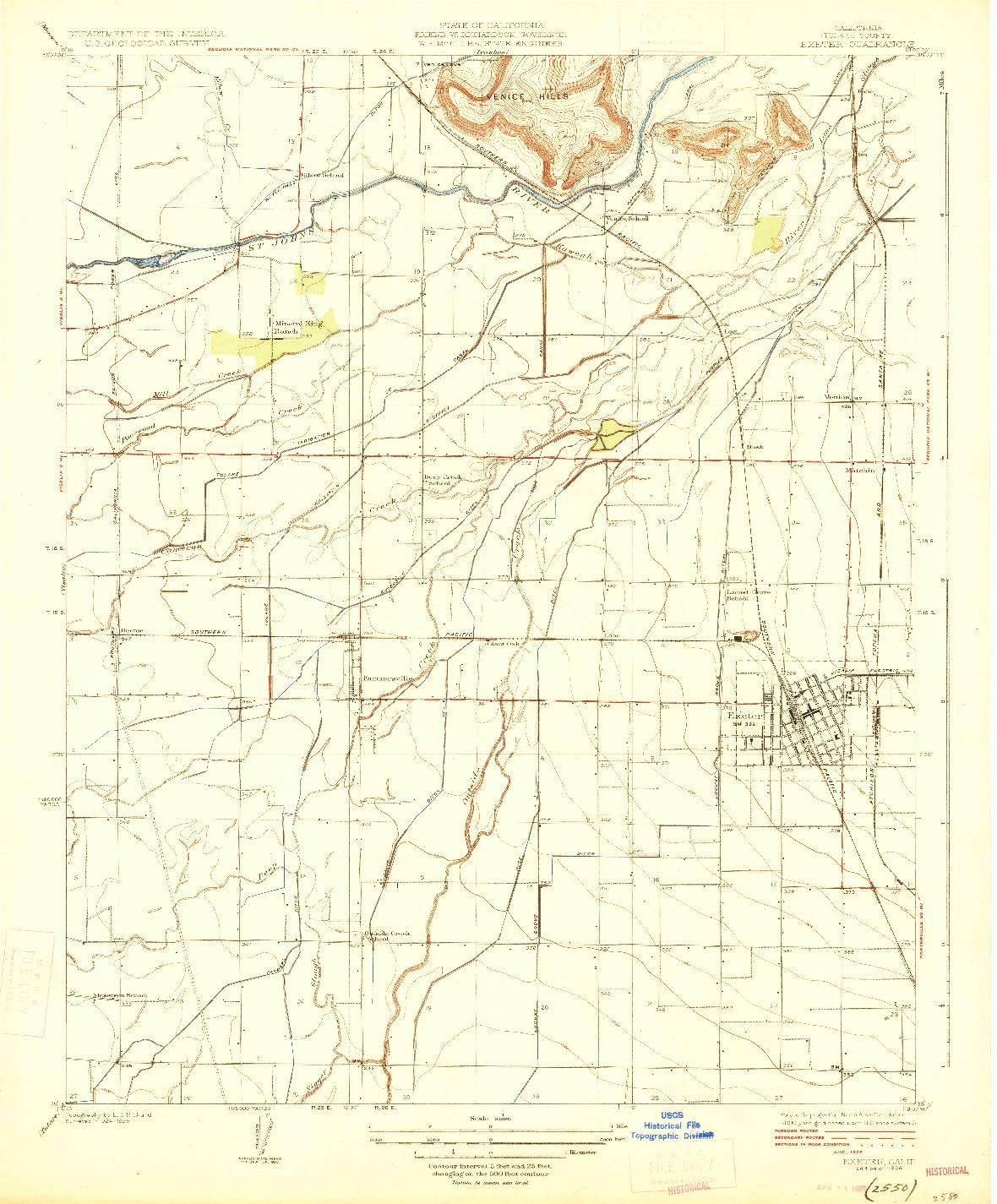 USGS 1:31680-SCALE QUADRANGLE FOR EXETER, CA 1926