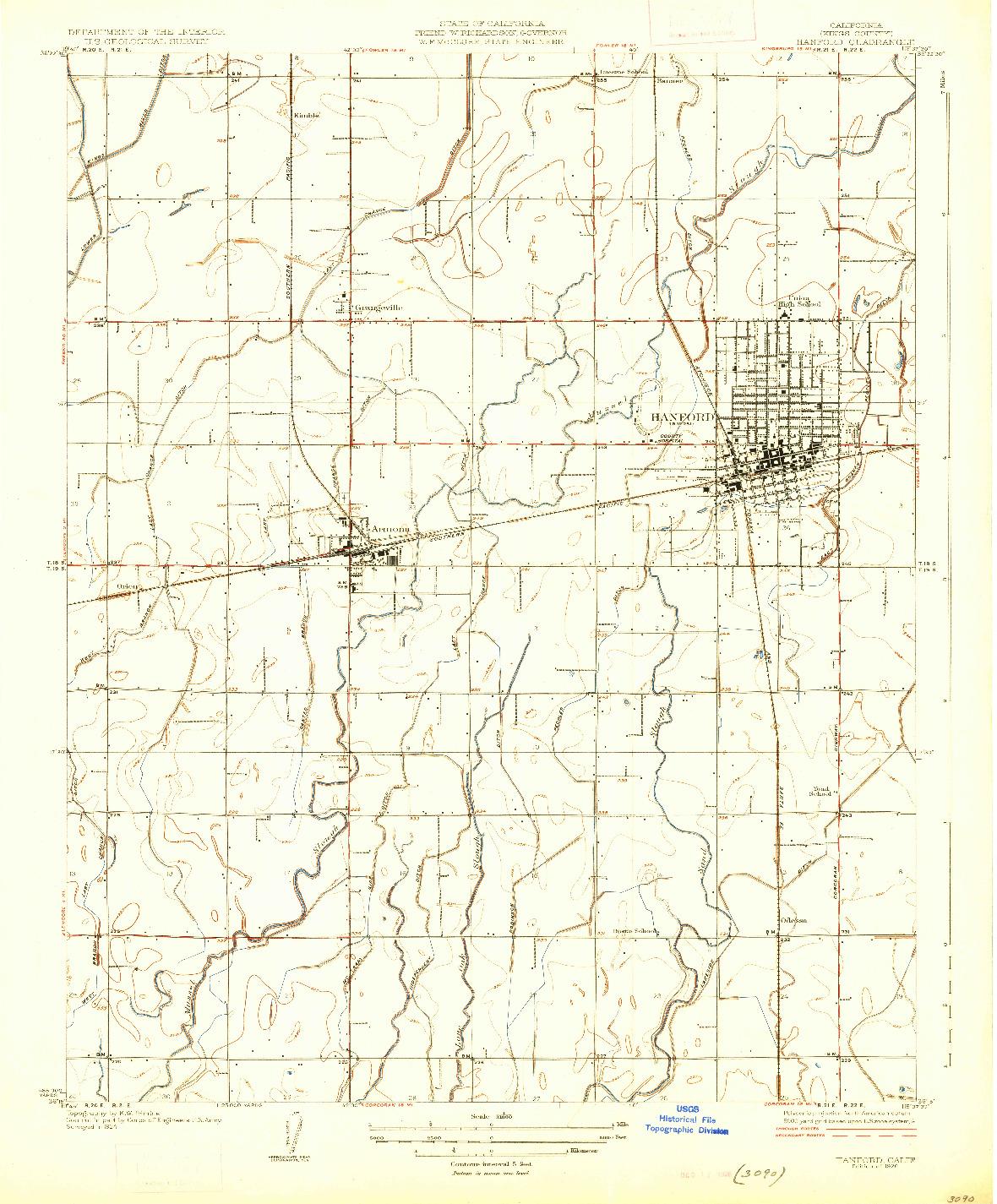USGS 1:31680-SCALE QUADRANGLE FOR HANFORD, CA 1926