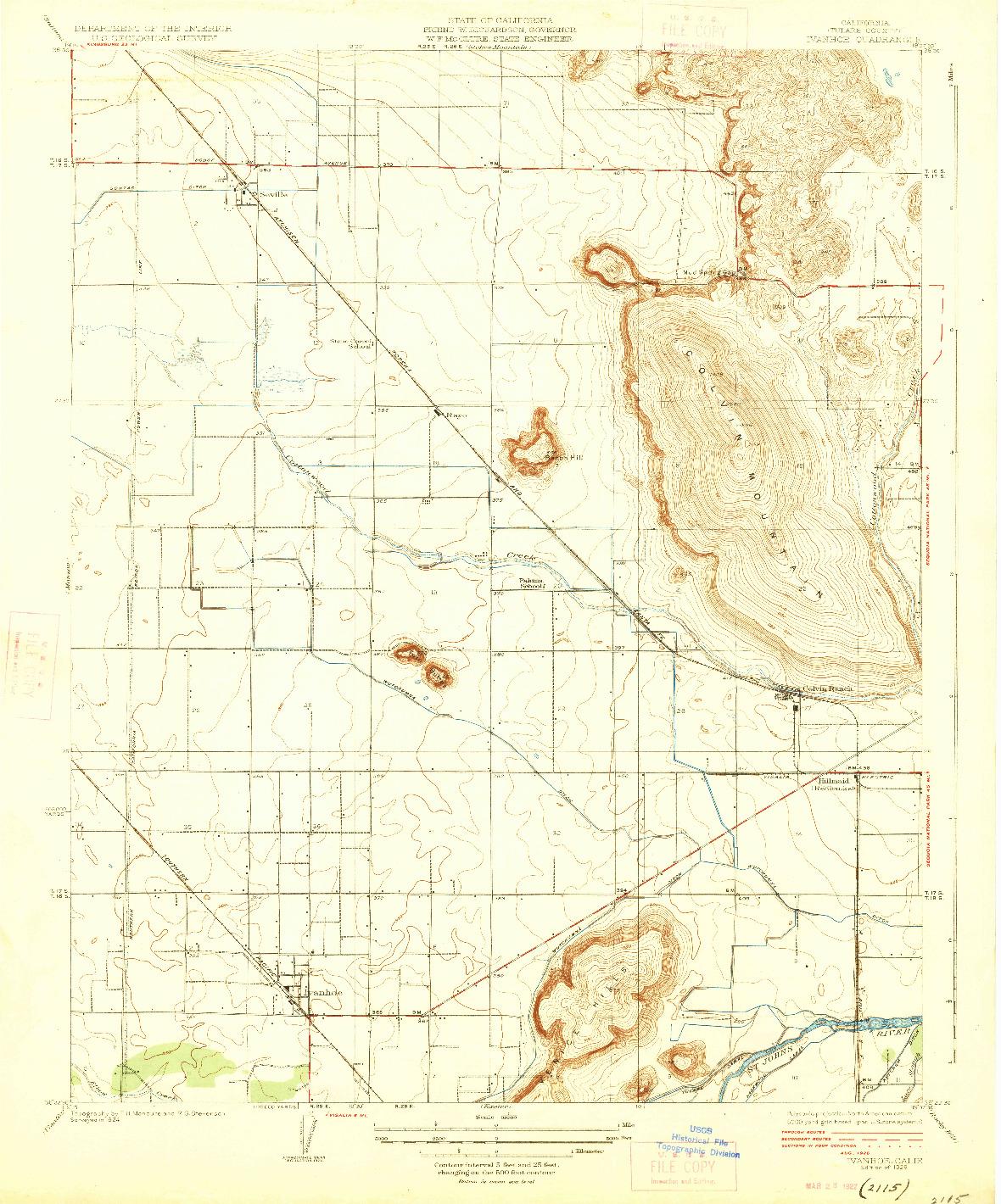 USGS 1:31680-SCALE QUADRANGLE FOR IVANHOE, CA 1926