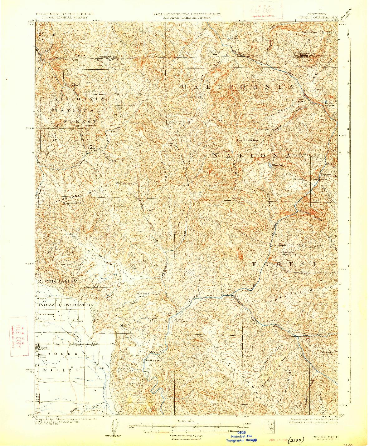 USGS 1:62500-SCALE QUADRANGLE FOR COVELO, CA 1926