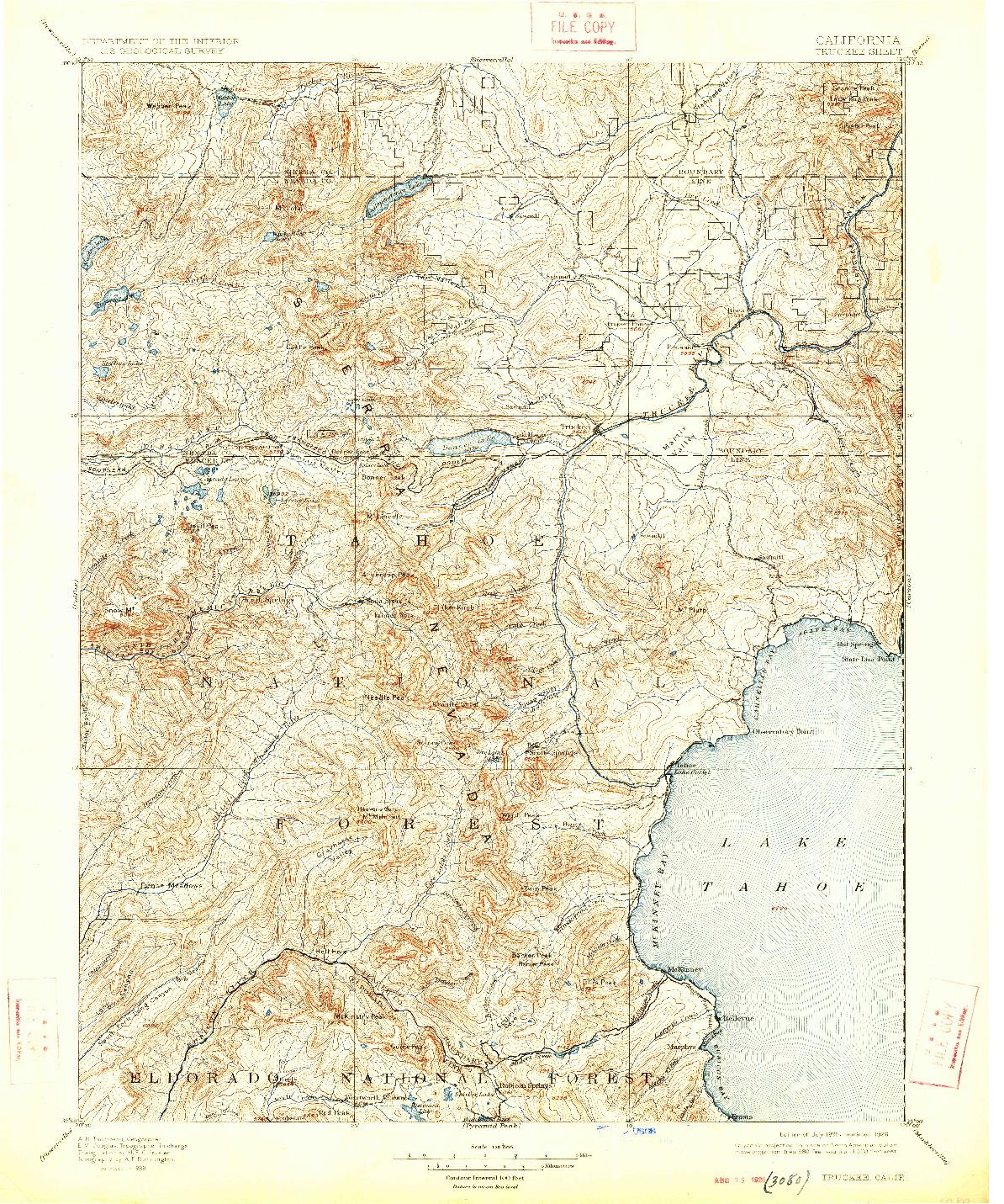 USGS 1:125000-SCALE QUADRANGLE FOR TRUCKEE, CA 1895