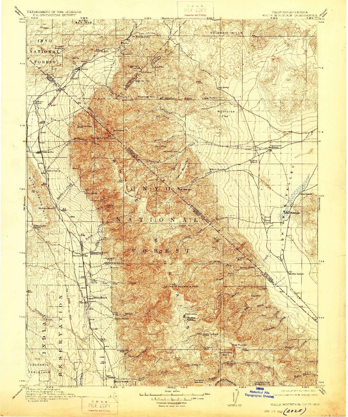 USGS 1:125000-SCALE QUADRANGLE FOR WHITE MOUNTAIN, CA 1917