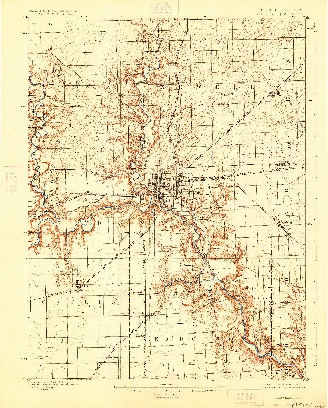USGS 1:62500-SCALE QUADRANGLE FOR DANVILLE, IL 1900
