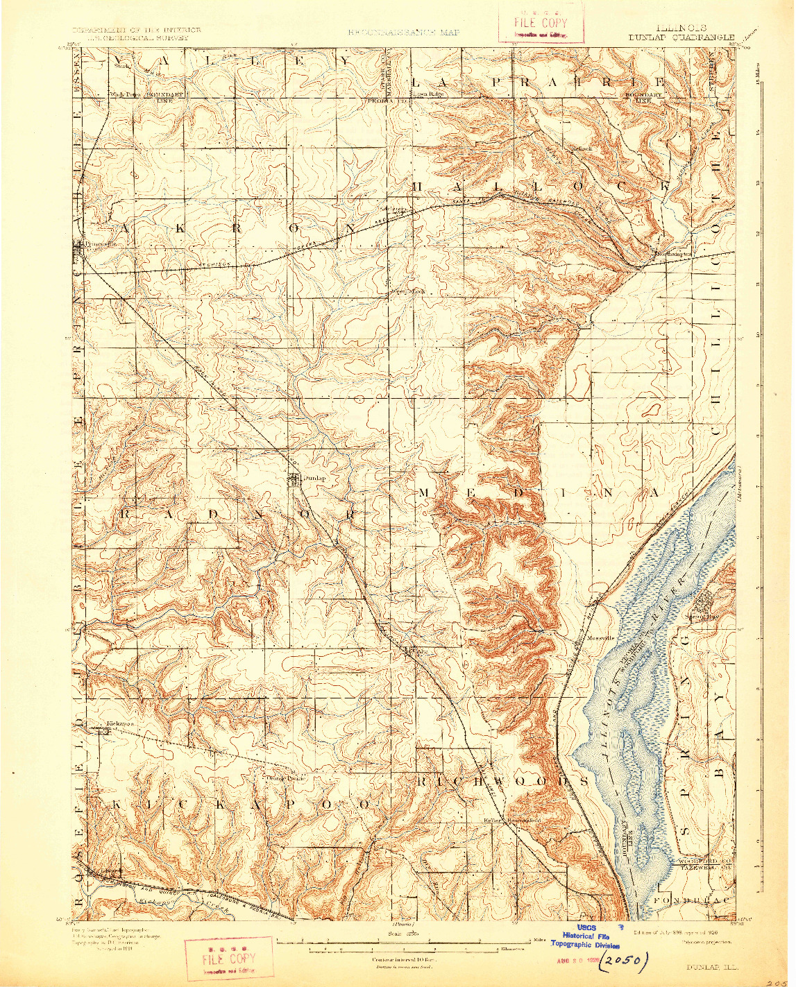 USGS 1:62500-SCALE QUADRANGLE FOR DUNLAP, IL 1898