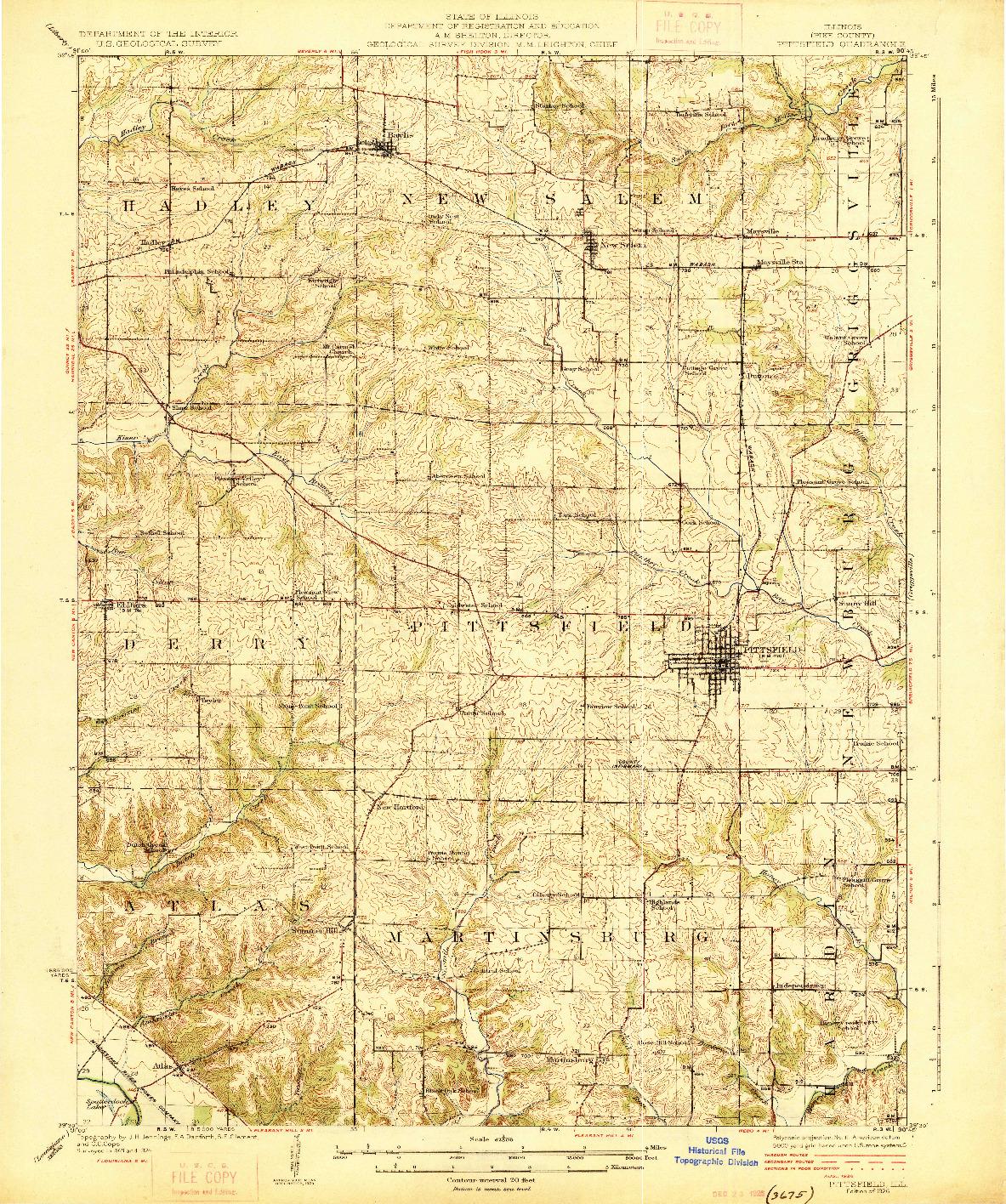 USGS 1:62500-SCALE QUADRANGLE FOR PITTSFIELD, IL 1926