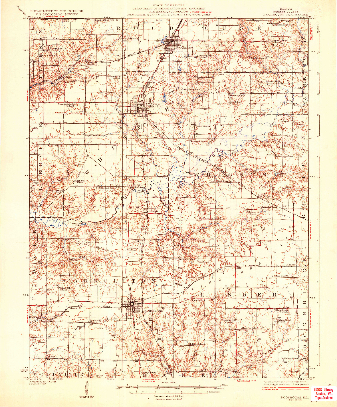 USGS 1:62500-SCALE QUADRANGLE FOR ROODHOUSE, IL 1926
