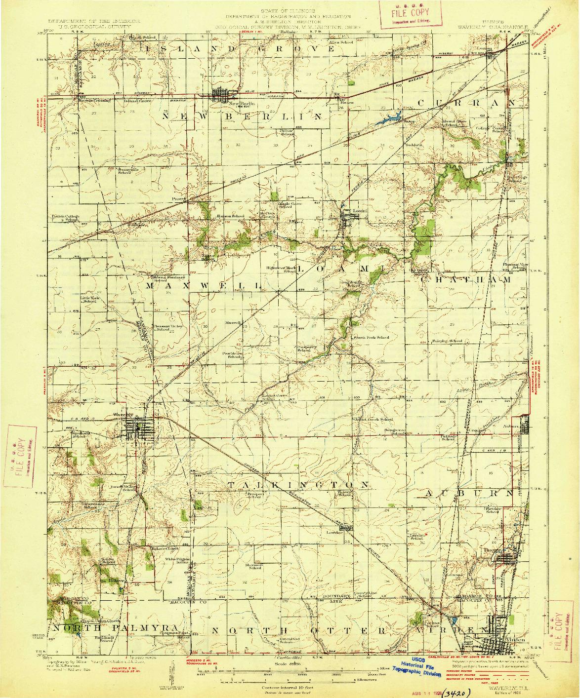 USGS 1:62500-SCALE QUADRANGLE FOR WAVERLY, IL 1926