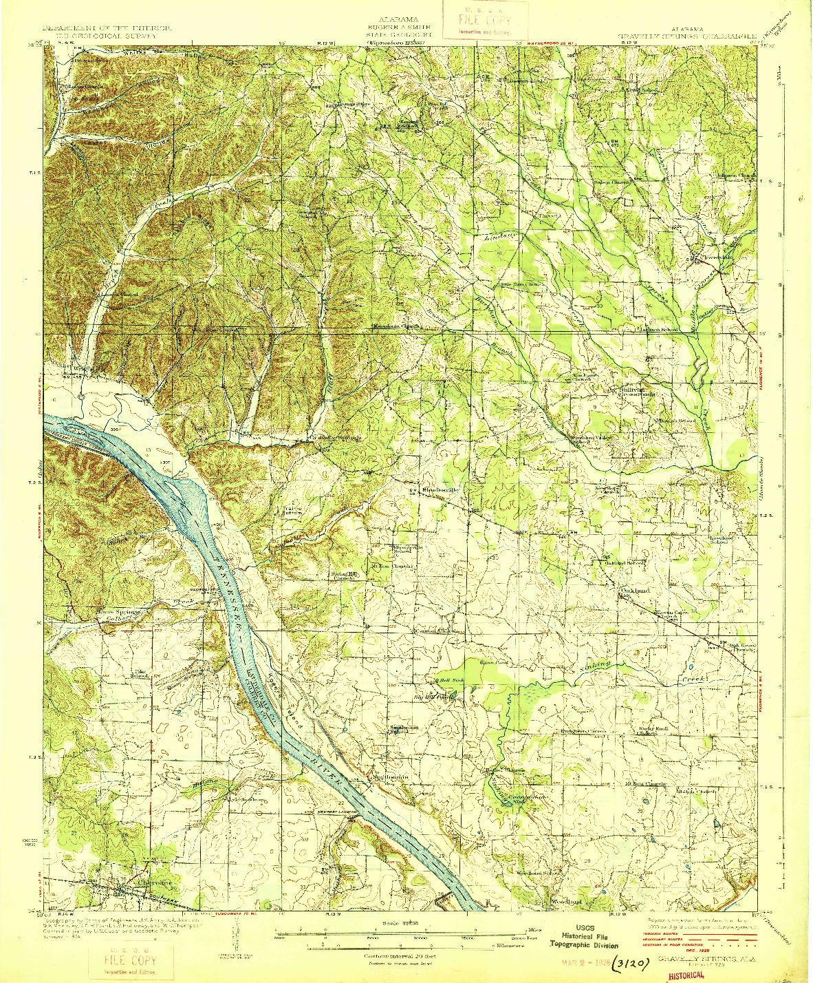 USGS 1:62500-SCALE QUADRANGLE FOR GRAVELLY SPRINGS, AL 1926
