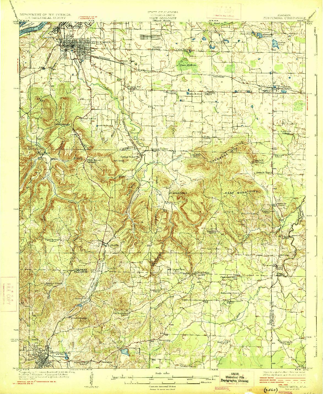 USGS 1:62500-SCALE QUADRANGLE FOR TUSCUMBIA, AL 1926