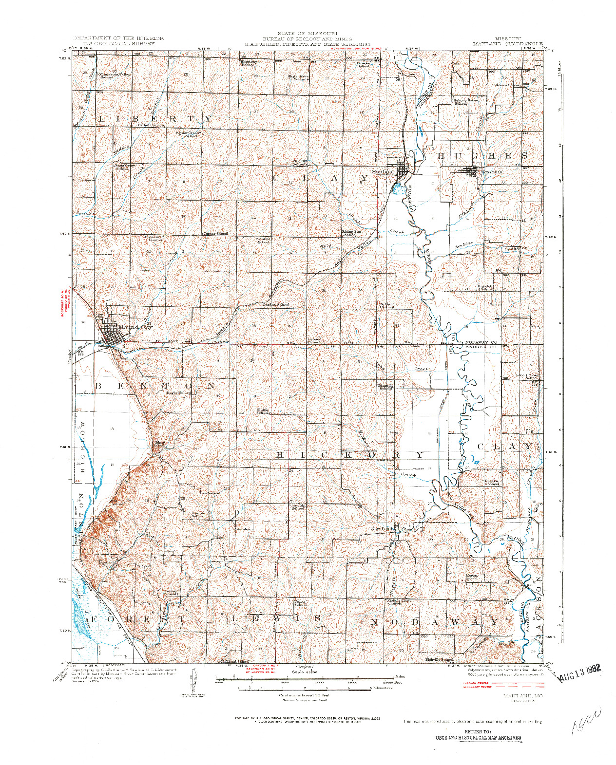 USGS 1:62500-SCALE QUADRANGLE FOR MAITLAND, MO 1926