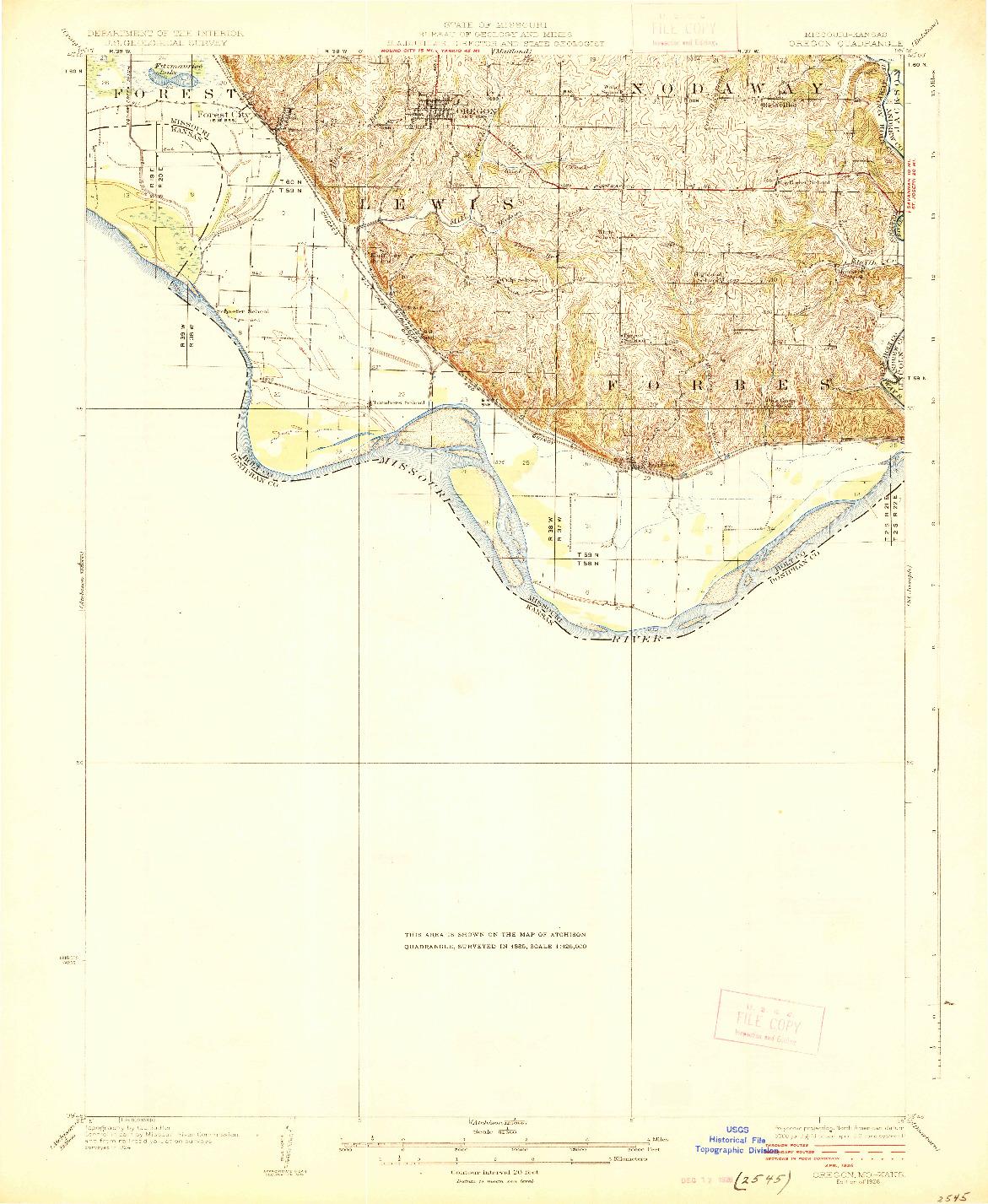 USGS 1:62500-SCALE QUADRANGLE FOR OREGON, MO 1926