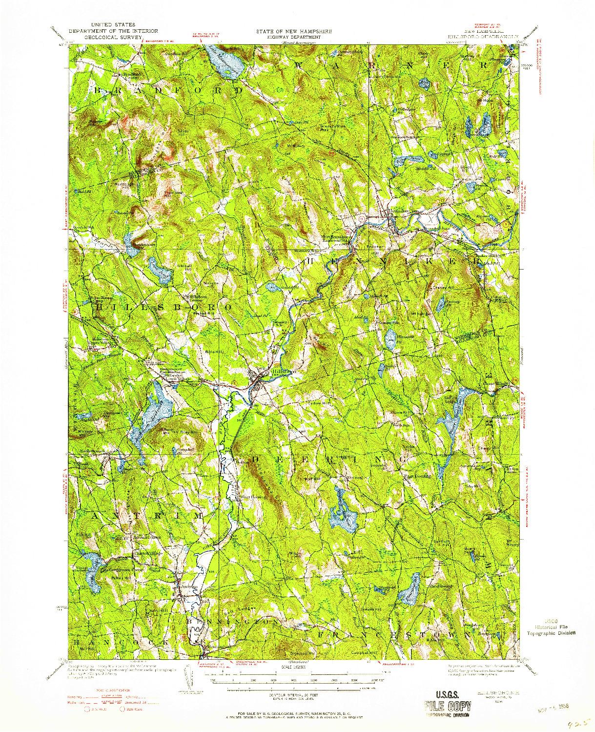 USGS 1:62500-SCALE QUADRANGLE FOR HILLSBORO, NH 1926