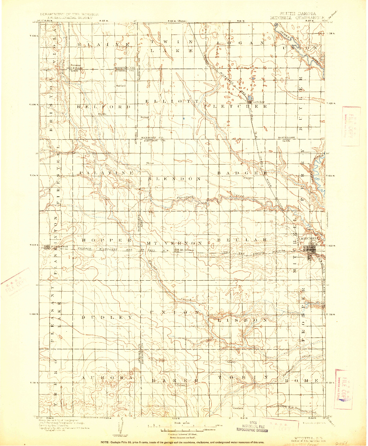 USGS 1:125000-SCALE QUADRANGLE FOR MITCHELL, SD 1899