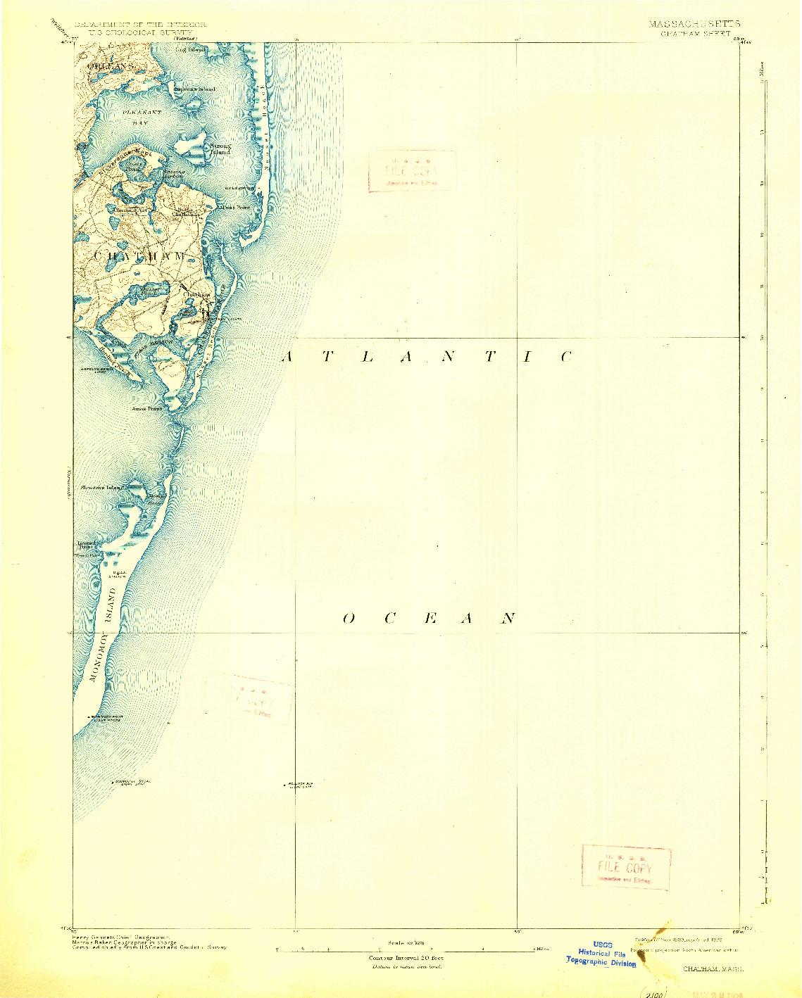 USGS 1:62500-SCALE QUADRANGLE FOR CHATHAM, MA 1893
