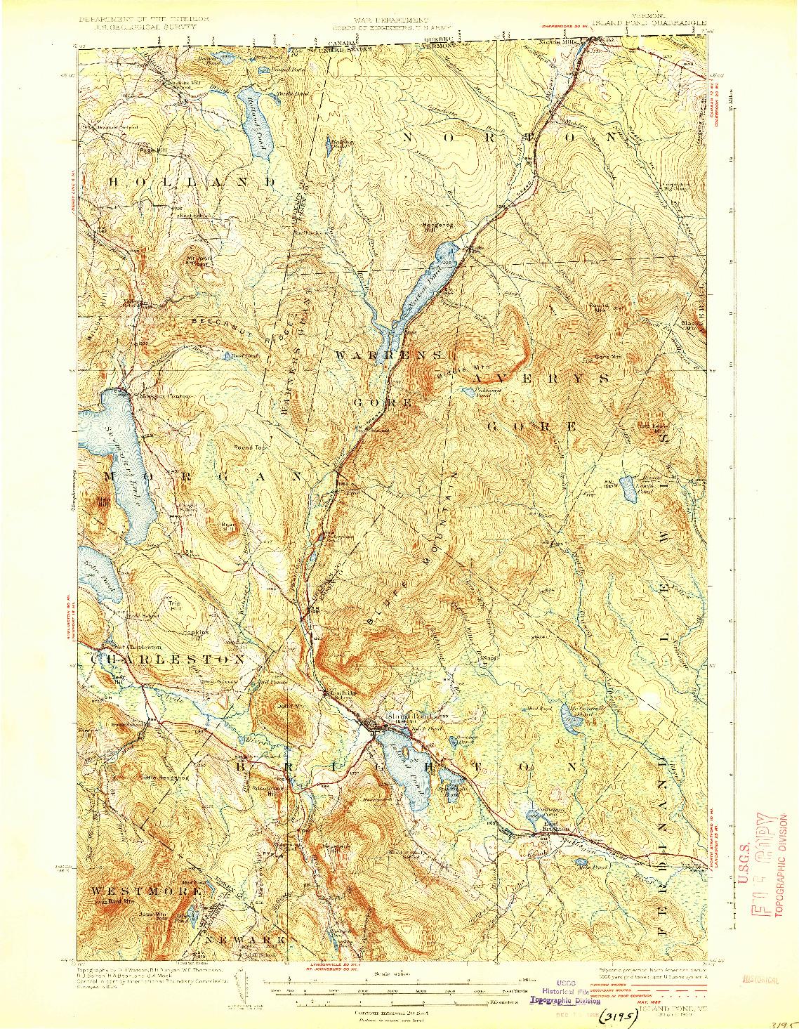 USGS 1:62500-SCALE QUADRANGLE FOR ISLAND POND, VT 1926