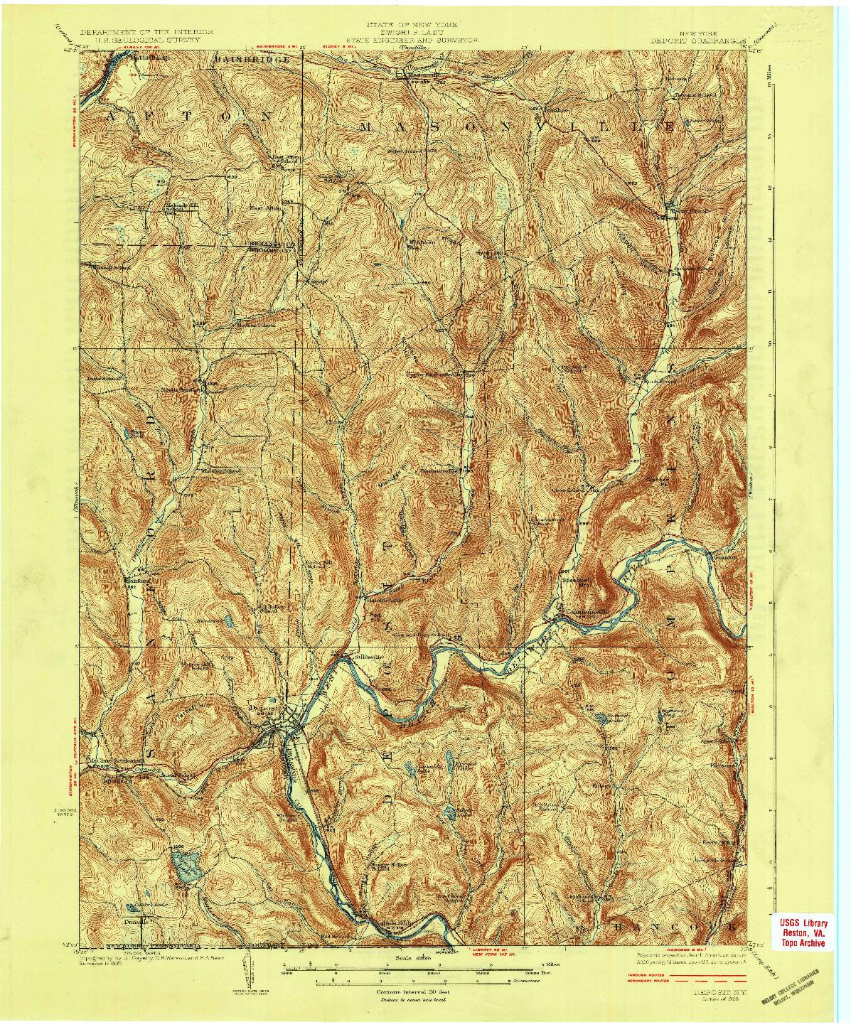 USGS 1:62500-SCALE QUADRANGLE FOR DEPOSIT, NY 1926