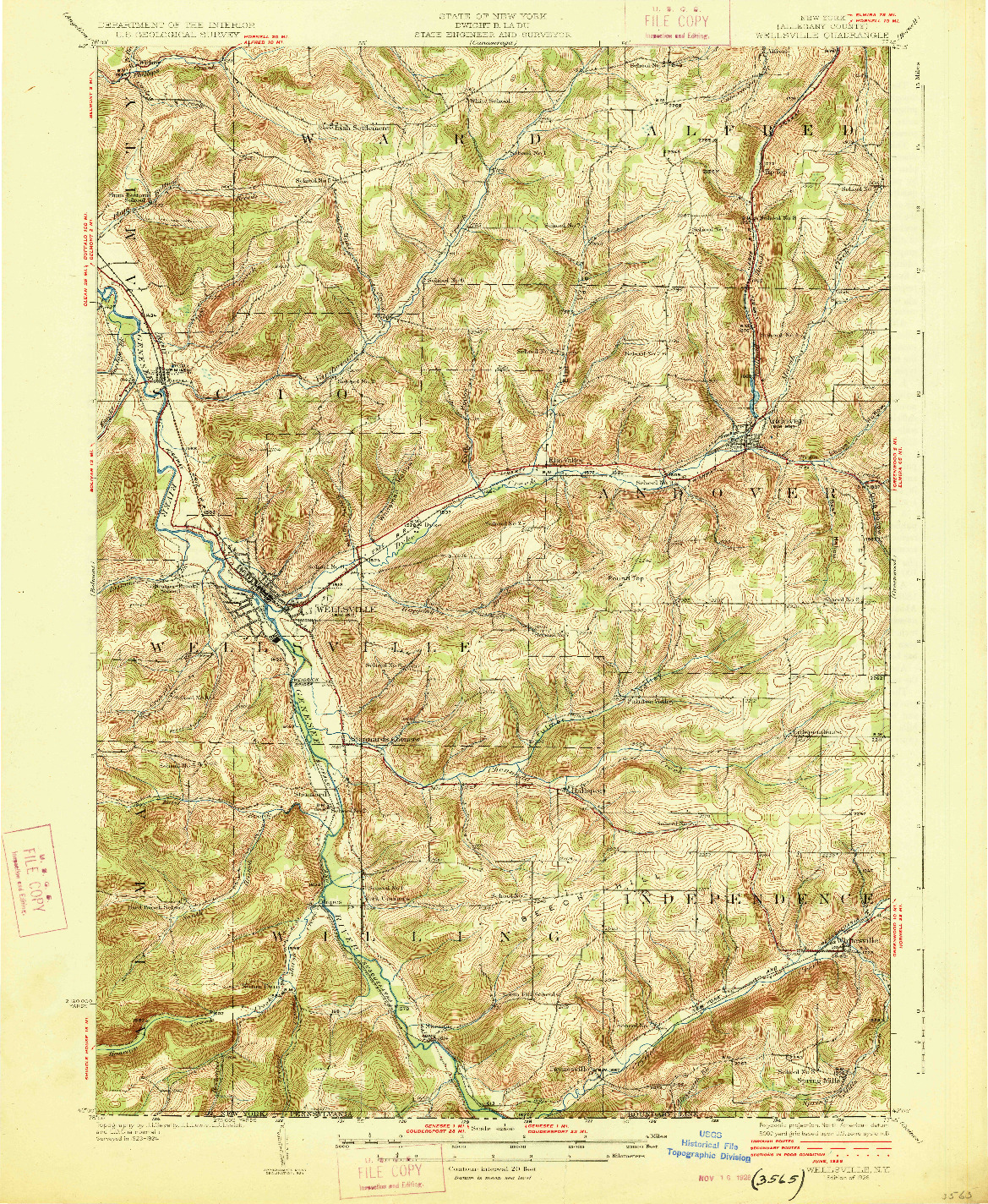 USGS 1:62500-SCALE QUADRANGLE FOR WELLSVILLE, NY 1926