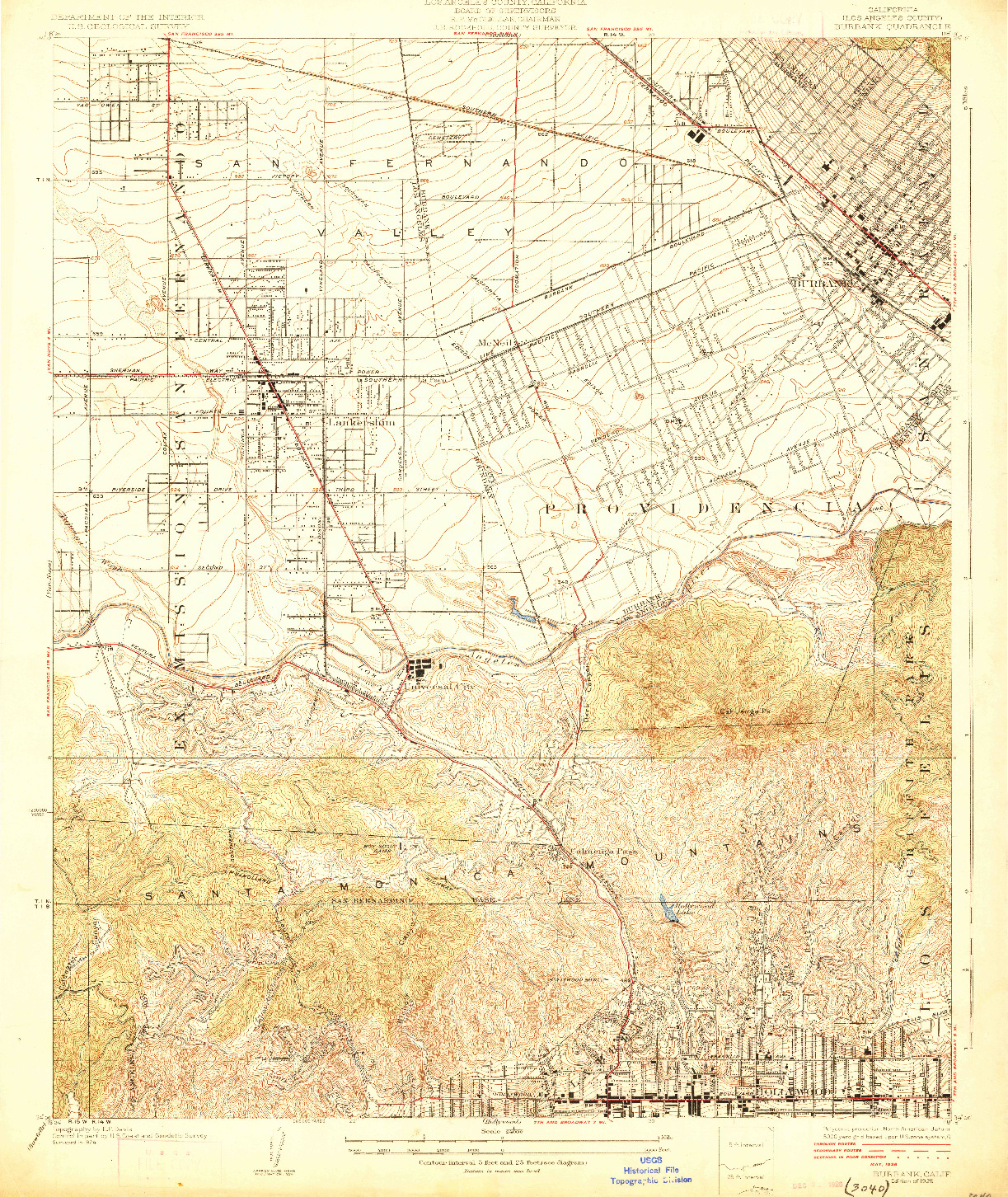 USGS 1:24000-SCALE QUADRANGLE FOR BURBANK, CA 1926