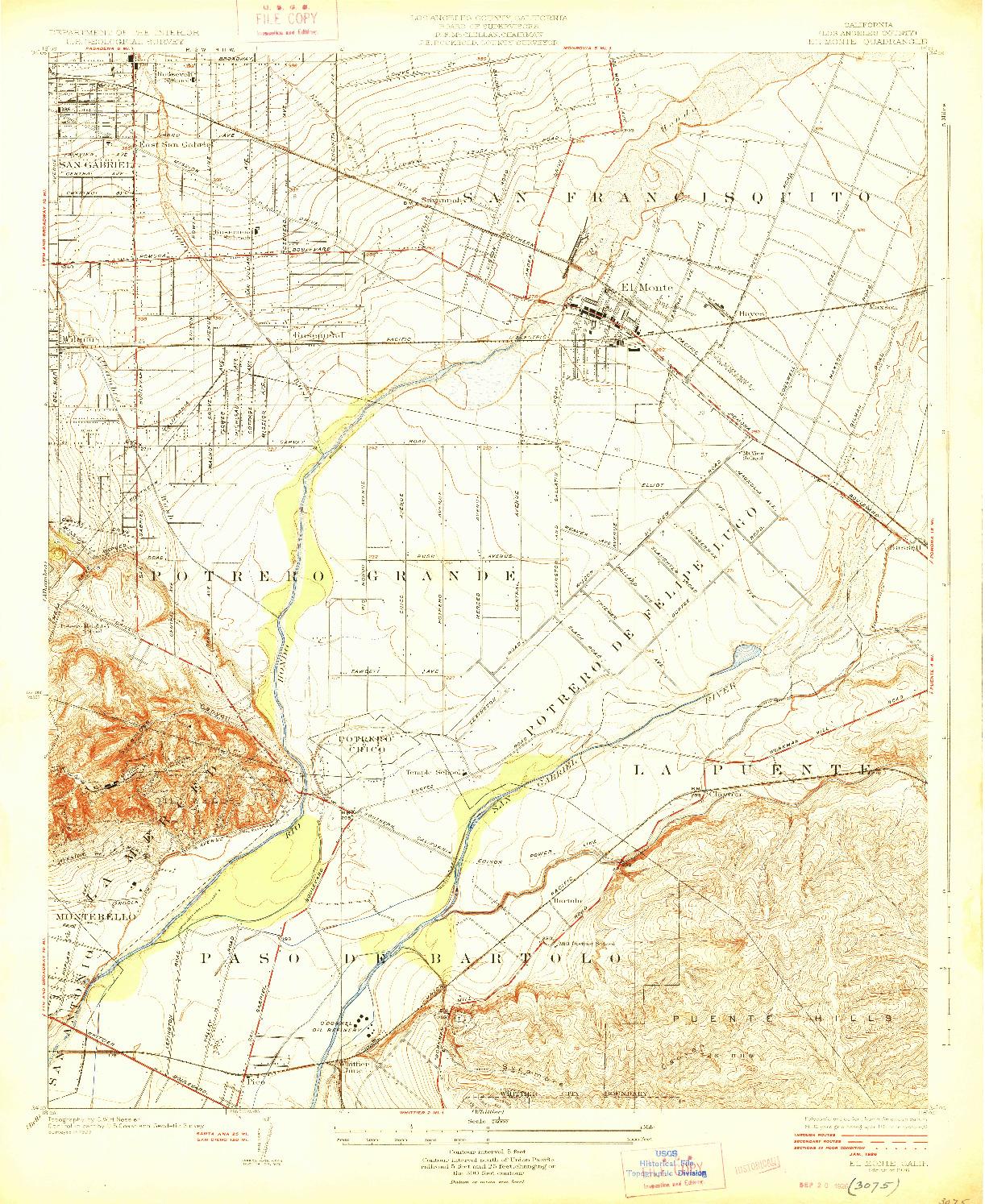 USGS 1:24000-SCALE QUADRANGLE FOR EL MONTE, CA 1926