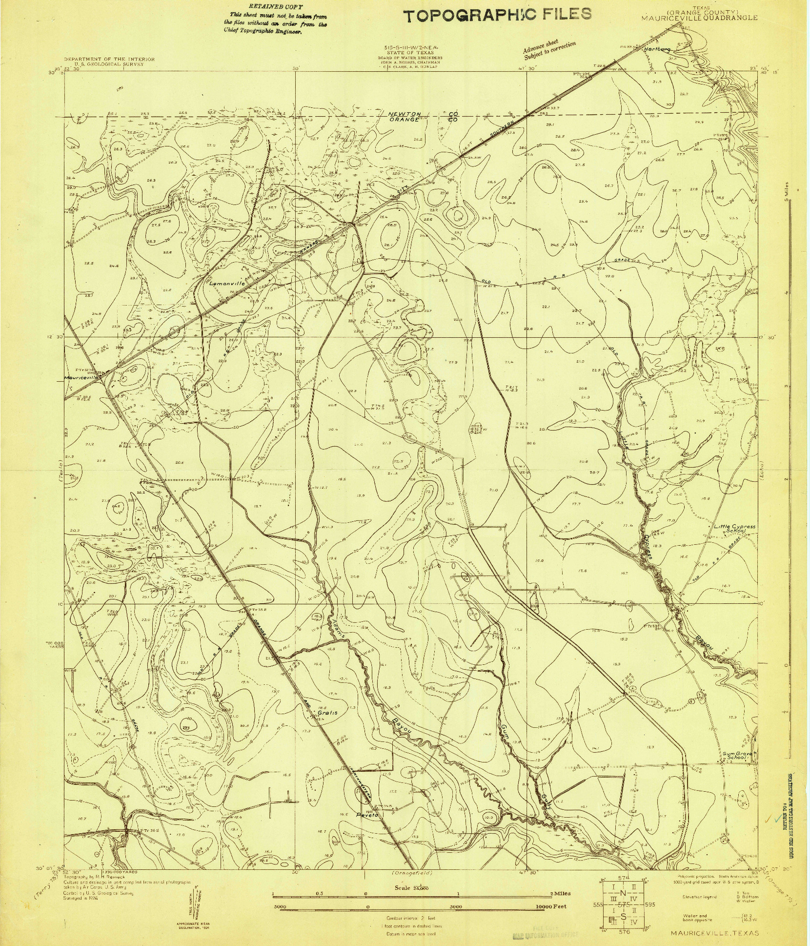 USGS 1:24000-SCALE QUADRANGLE FOR MAURICEVILLE, TX 1926