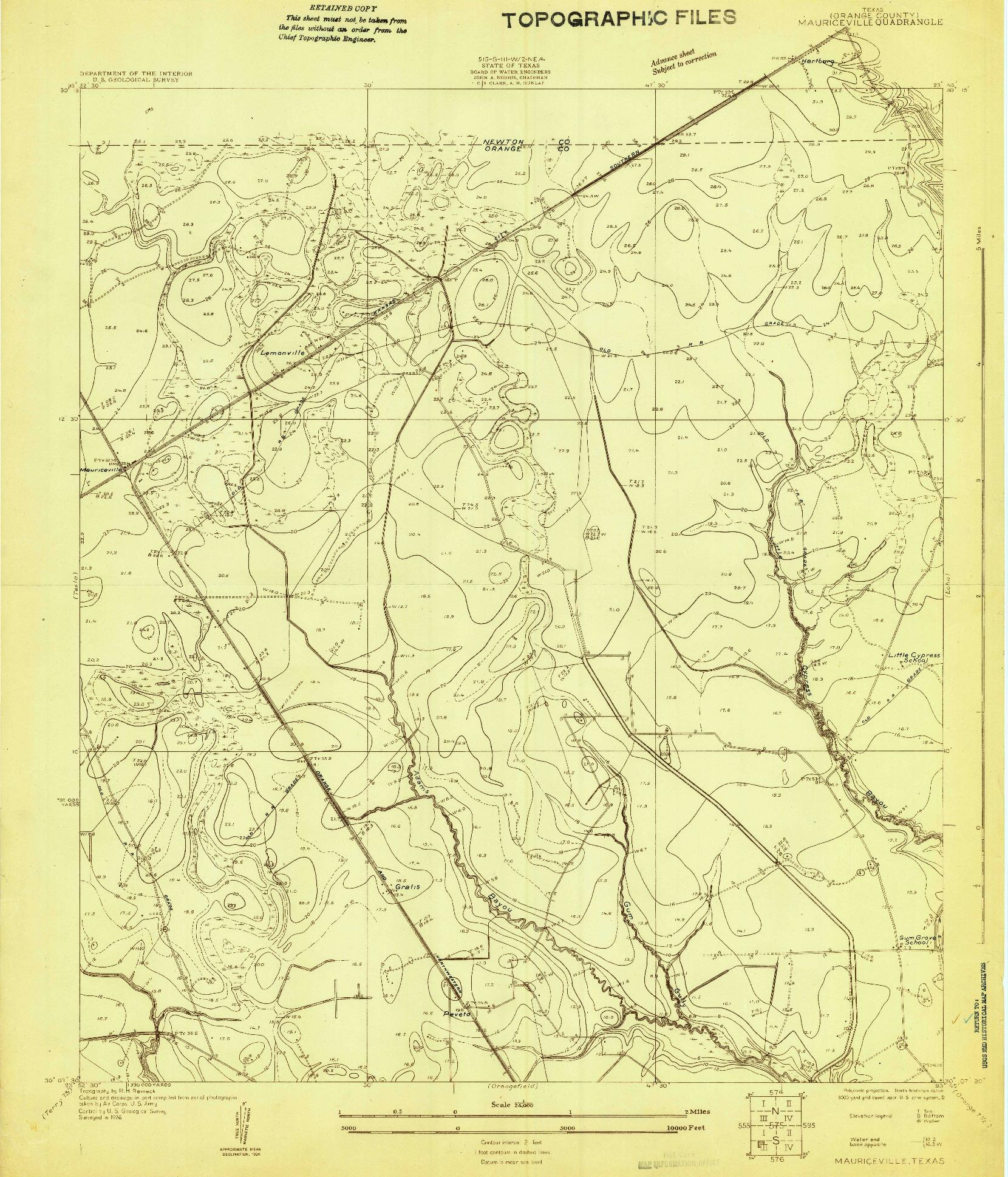 USGS 1:24000-SCALE QUADRANGLE FOR MAURICEVILLE, TX 1926