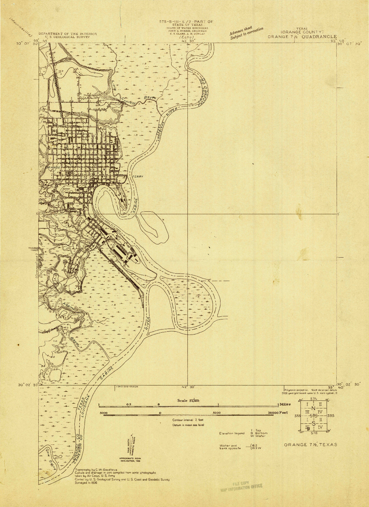 USGS 1:24000-SCALE QUADRANGLE FOR ORANGE, TX 1926