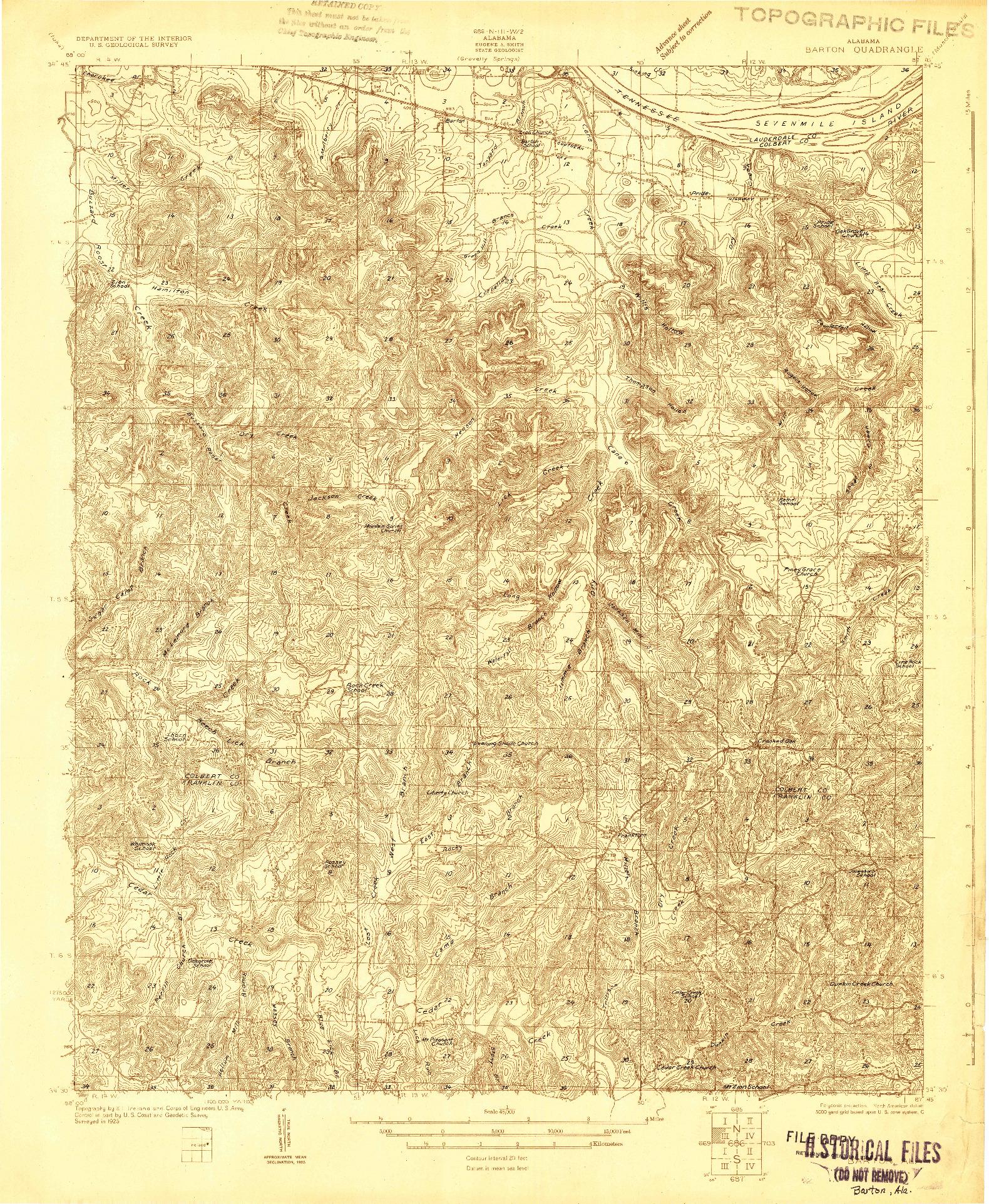 USGS 1:48000-SCALE QUADRANGLE FOR BARTON, AL 1926