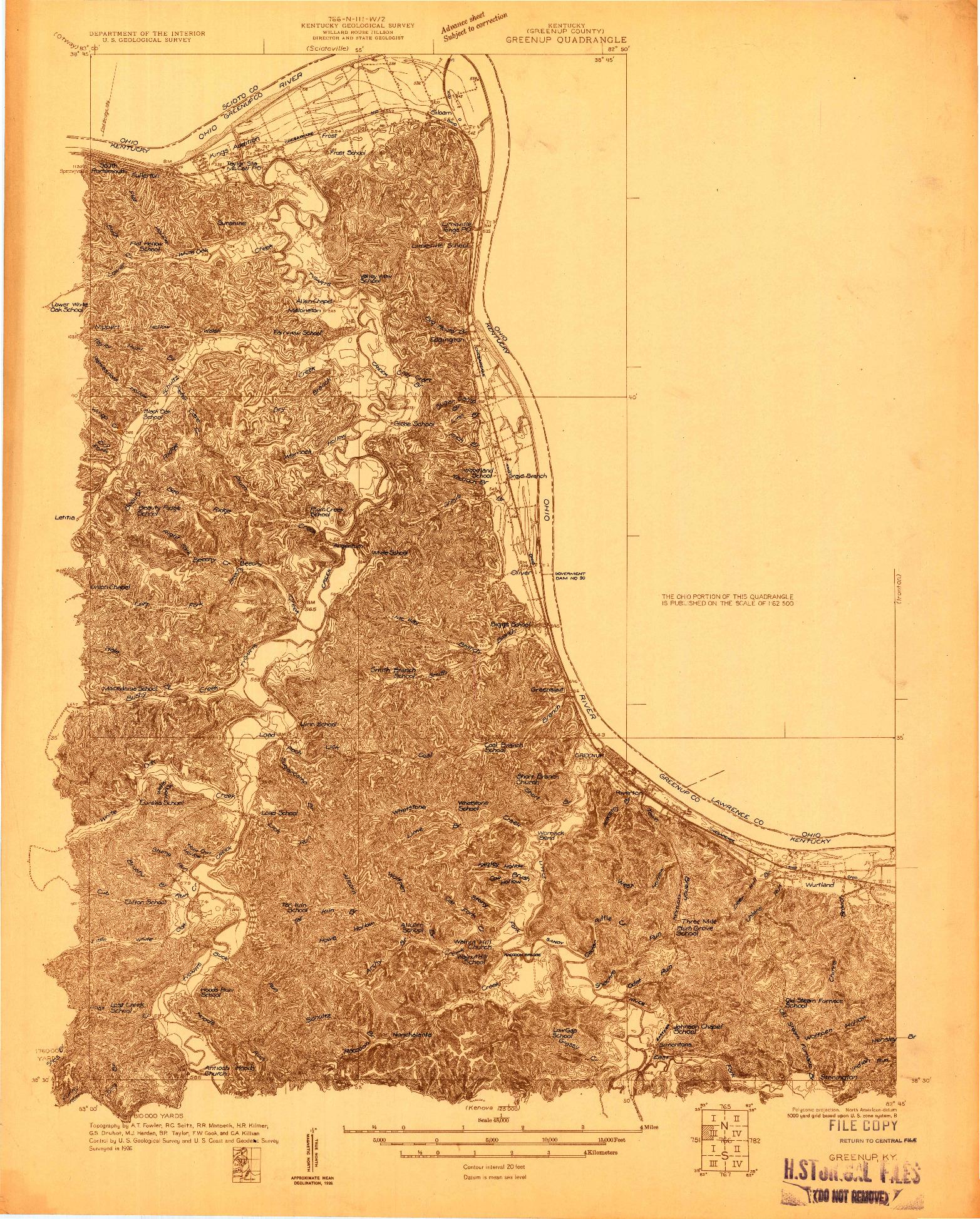 USGS 1:48000-SCALE QUADRANGLE FOR GREENUP, KY 1926