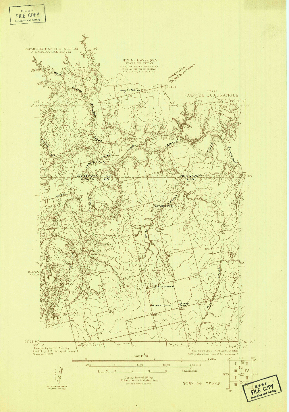 USGS 1:48000-SCALE QUADRANGLE FOR ROBY 2-B, TX 1926