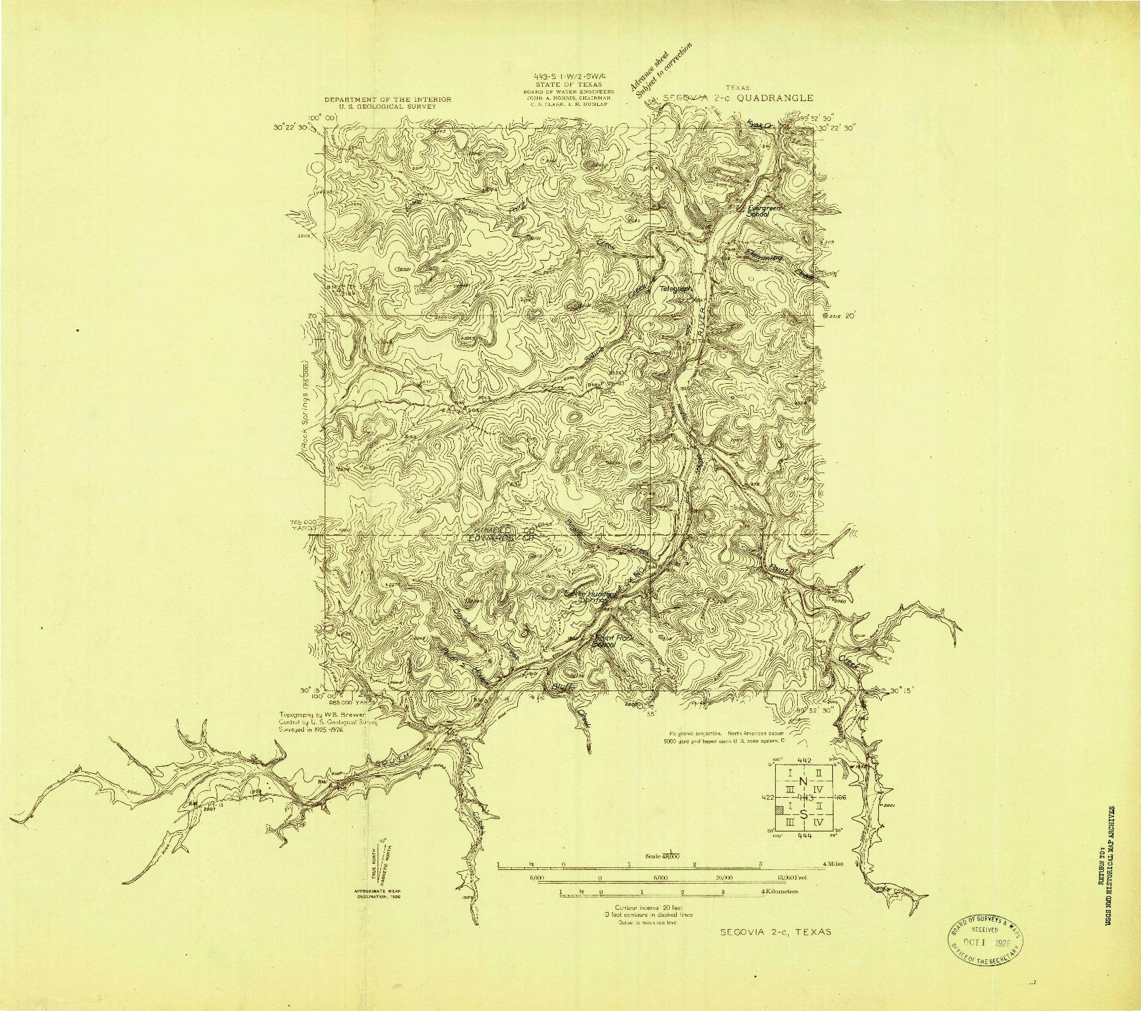 USGS 1:48000-SCALE QUADRANGLE FOR SEGOVIA 2-C, TX 1926