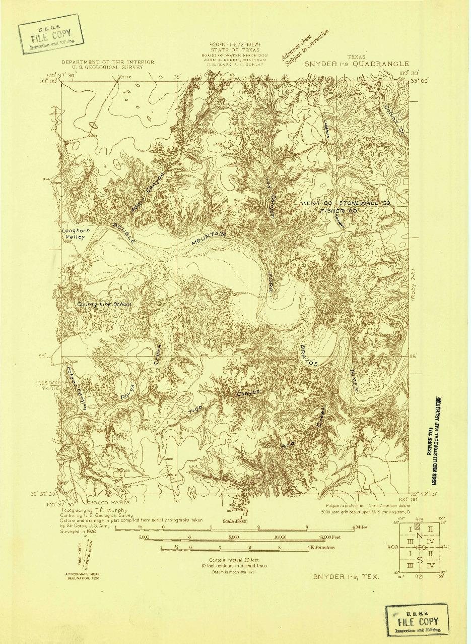 USGS 1:48000-SCALE QUADRANGLE FOR SNYDER 1-A, TX 1926