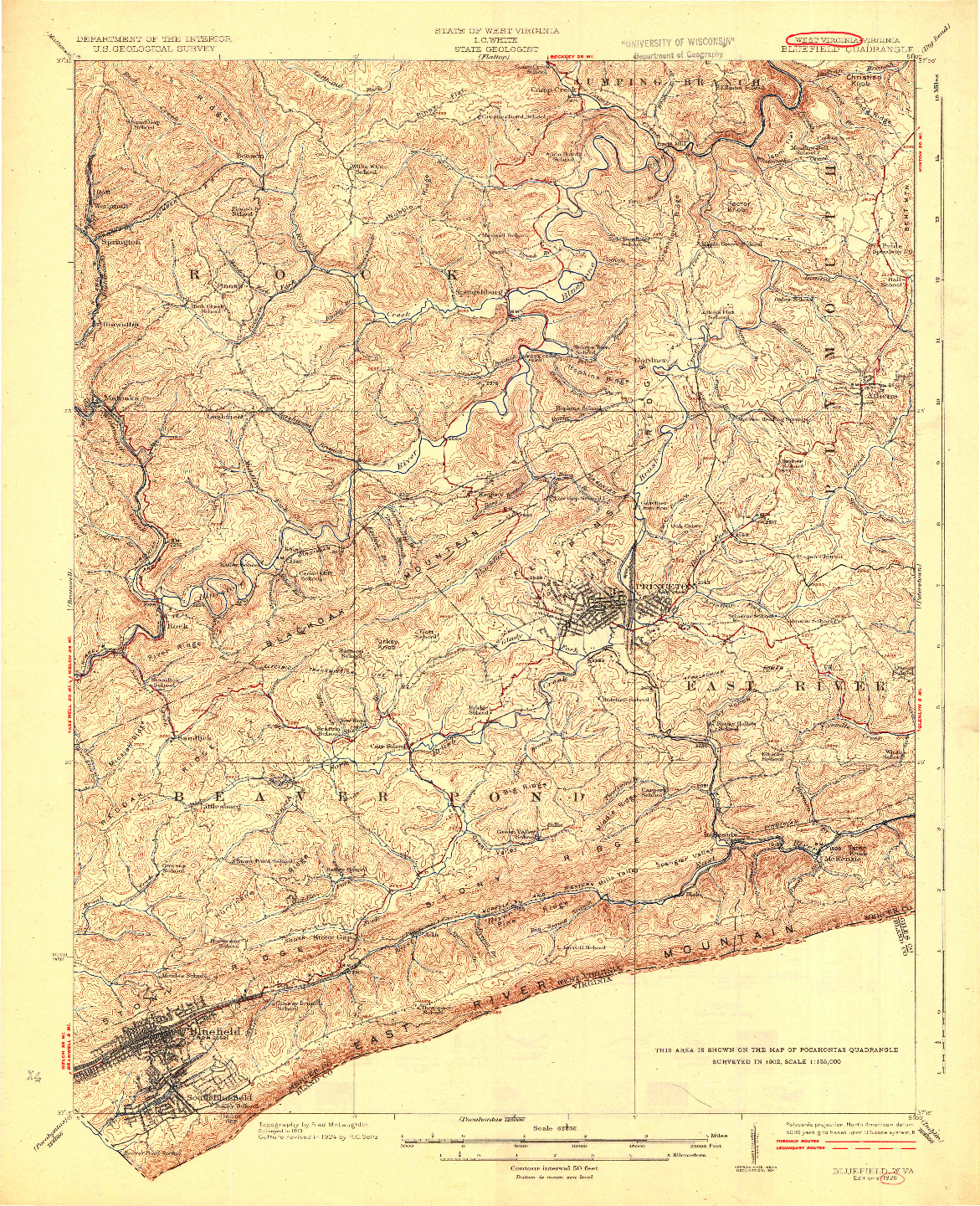 USGS 1:62500-SCALE QUADRANGLE FOR BLUEFIELD, WV 1926